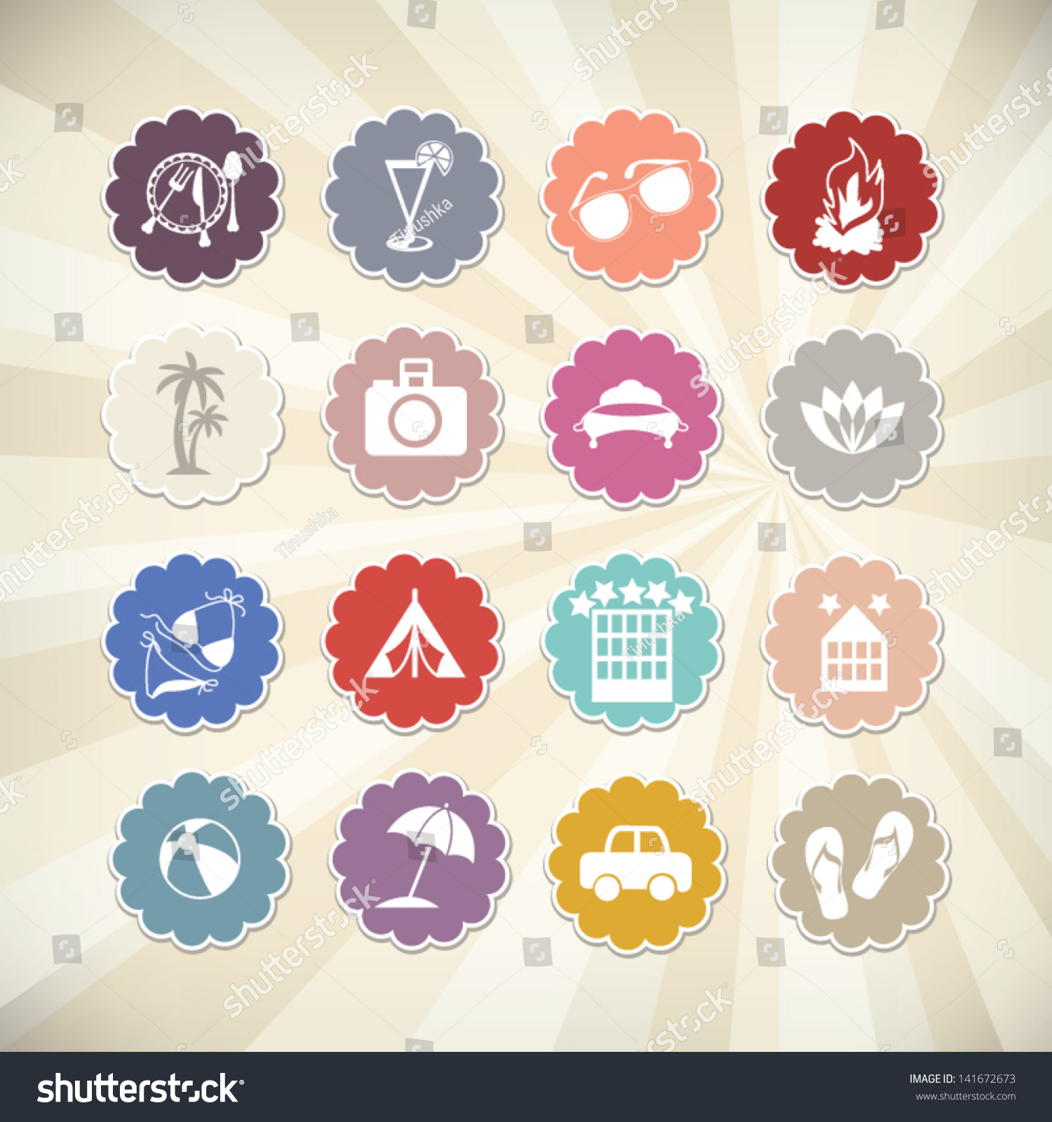 Cute summer travel icons signs symbols stock vector 141672673 cute summer travel icons with signs and symbols related to beach sports water buycottarizona Images