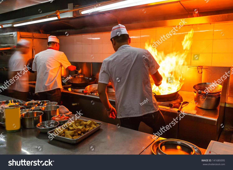 Crowded Kitchen Narrow Aisle Working Chef Stock Photo