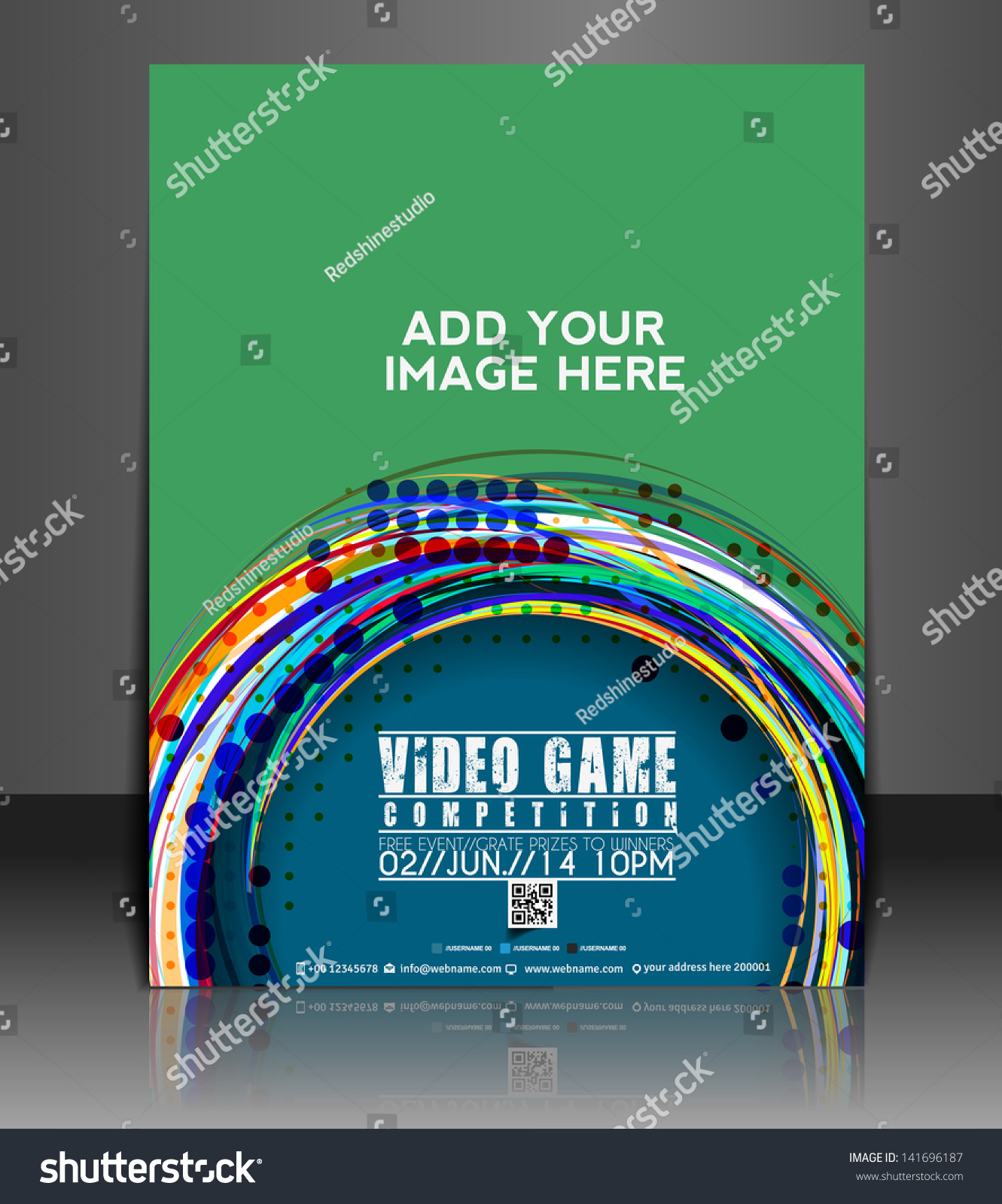 Vector Brochure Flyer Magazine Folder T Shirt Cover: Vector Video Game Brochure Flyer Magazine Stock Vector