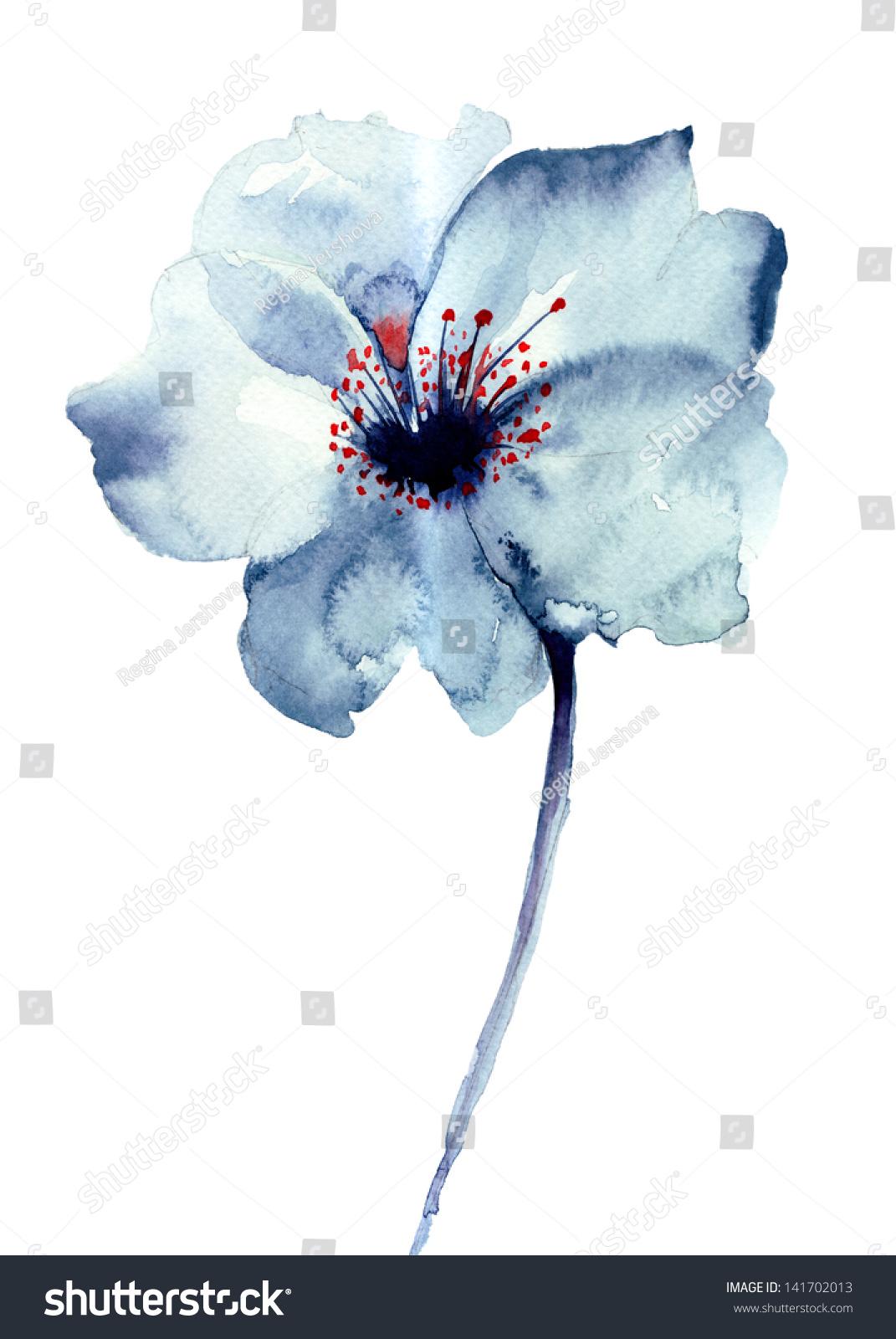 Decorative Blue Flower Watercolor Illustration Stock Illustration ...
