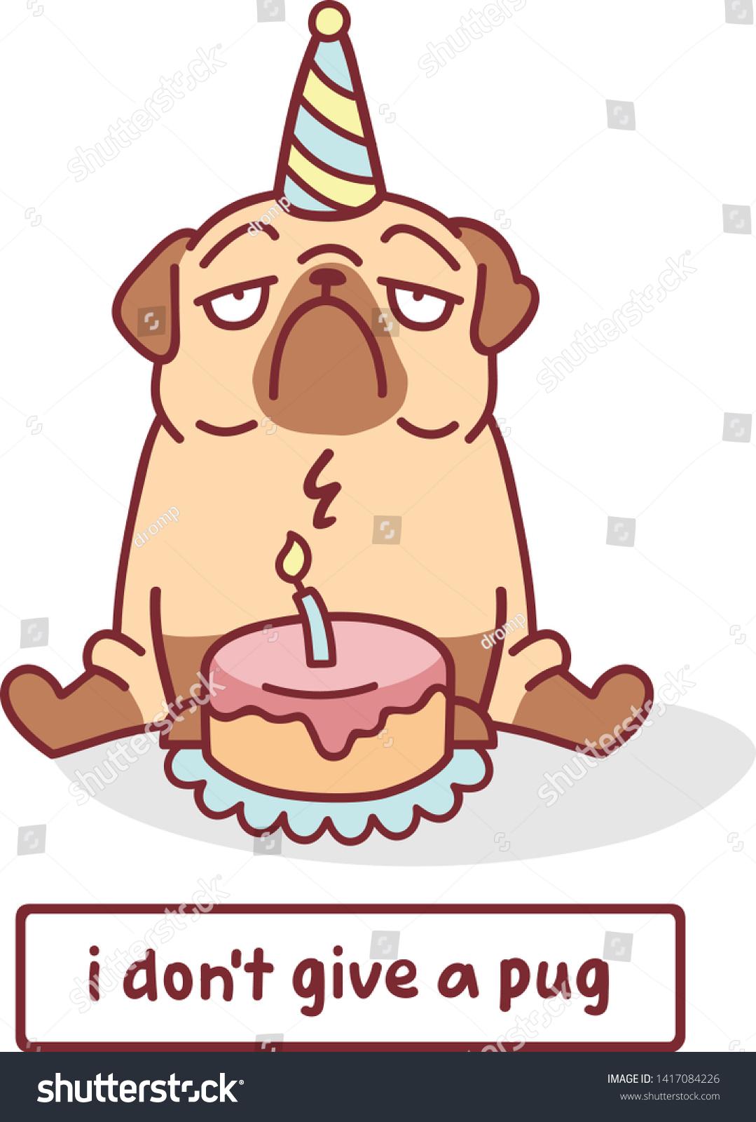 Surprising Cute Cartoon Pug Dog Birthday Cake Stock Vector Royalty Free Funny Birthday Cards Online Bapapcheapnameinfo