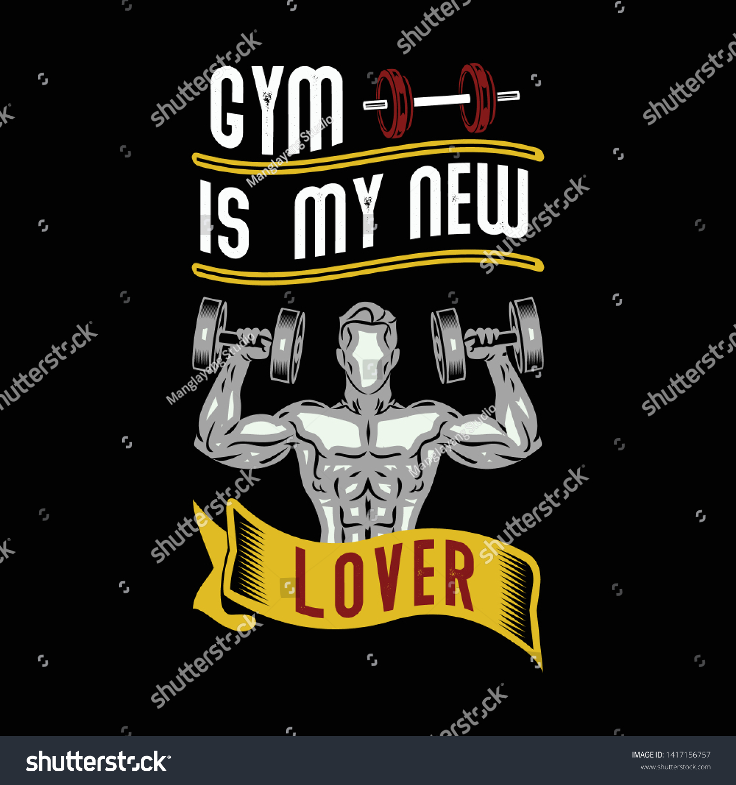 Gym My New Lover Gym Sayings Stock Vector Royalty Free 1417156757