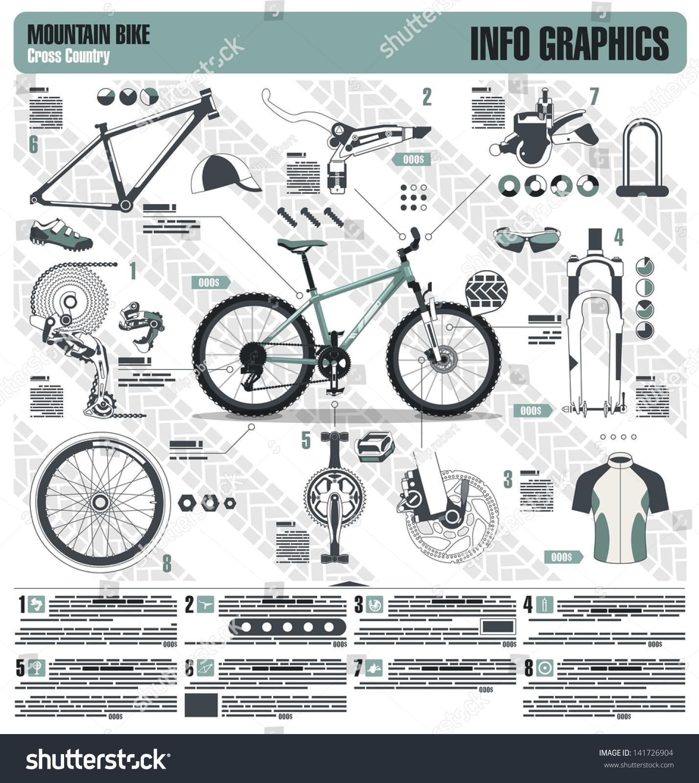 Mountain Bike Info Graphic Elements Vector Stock Vector 141726904
