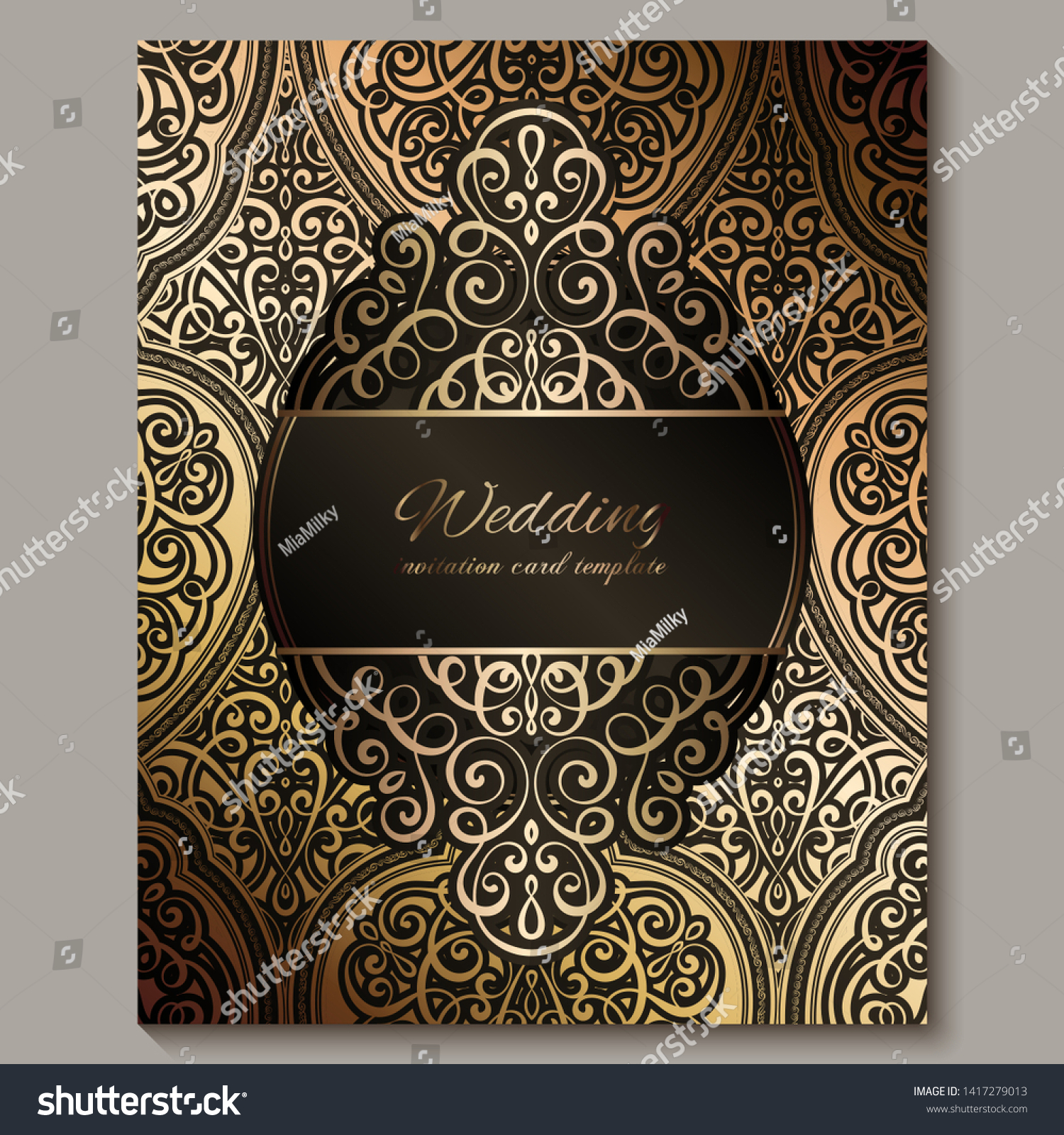 Wedding Invitation Card Black Gold Shiny Stock Vector (Royalty Free)  1417279013
