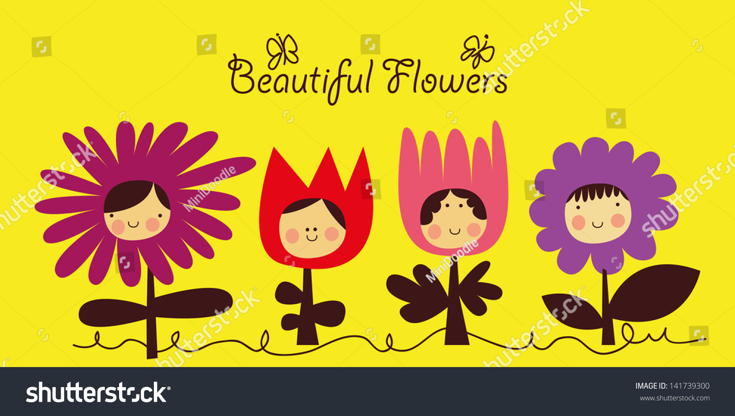 Cartoon Flowers With Funny Facesvector