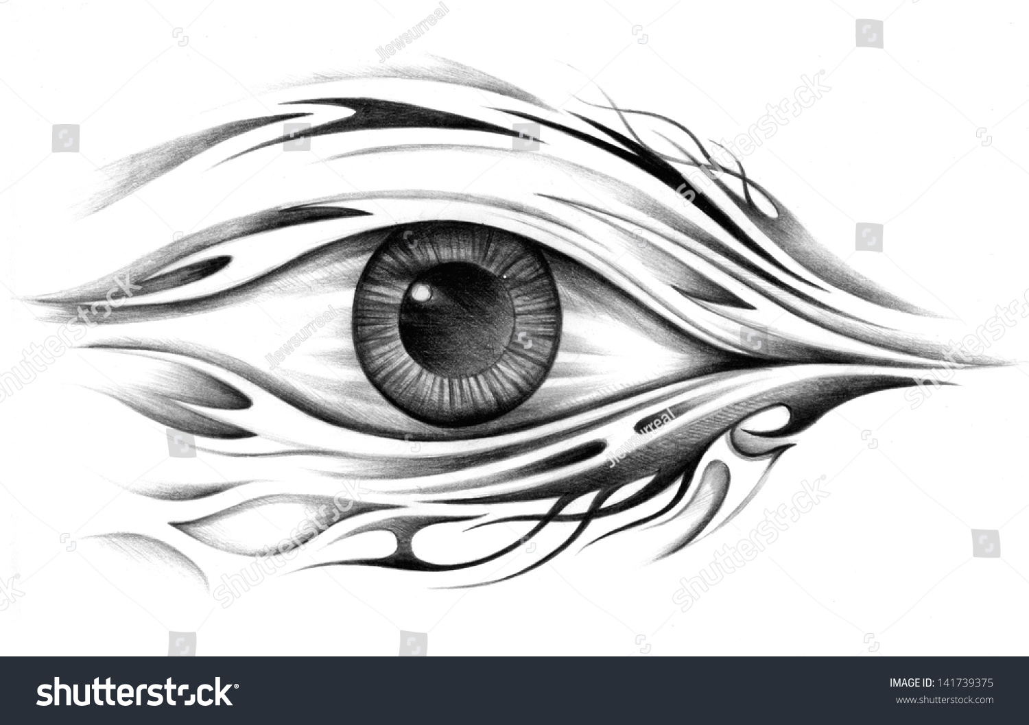 Art surreal eye tattoo drawing on paper 141739375