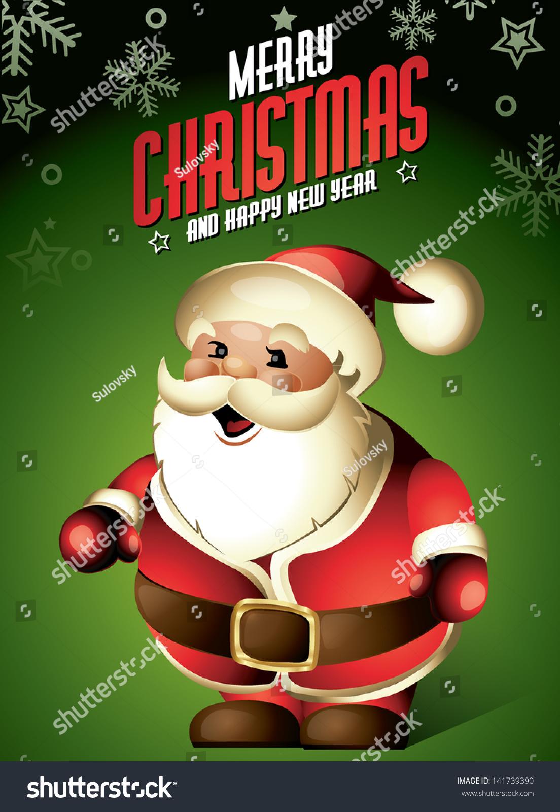 santa claus funny cute cartoon christmas stock vector 141739390