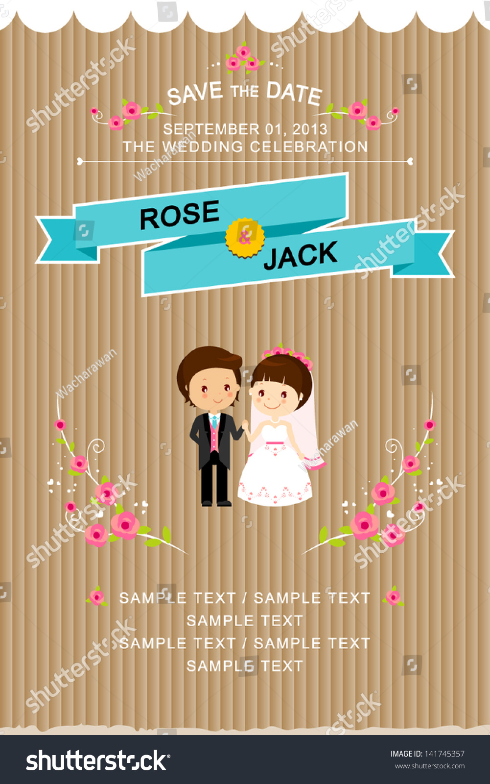 cute wedding invitations cute wedding invitations wedding invitation card with cute groom and bride cartoon royalty free stock images