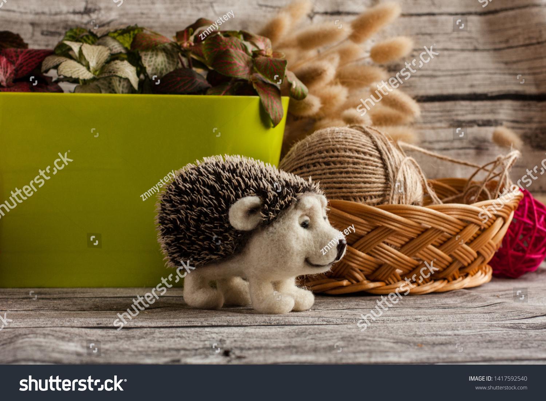woodland animal home decor handmade needle felted hedgehog wool handmade stock photo  edit  needle felted hedgehog wool handmade
