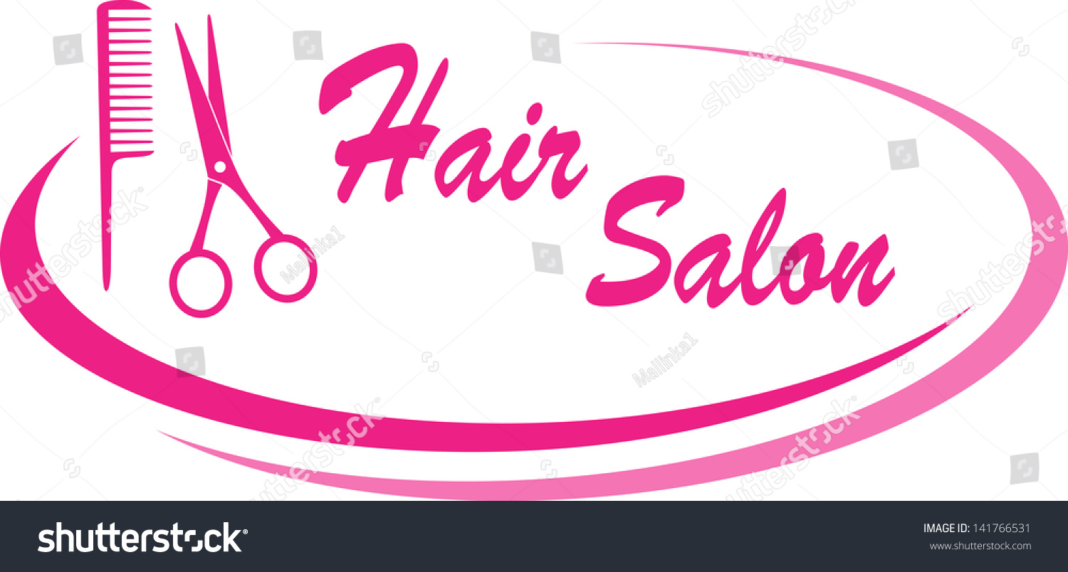 modern pink hair salon sign with design elements and text stock vector illustration 141766531