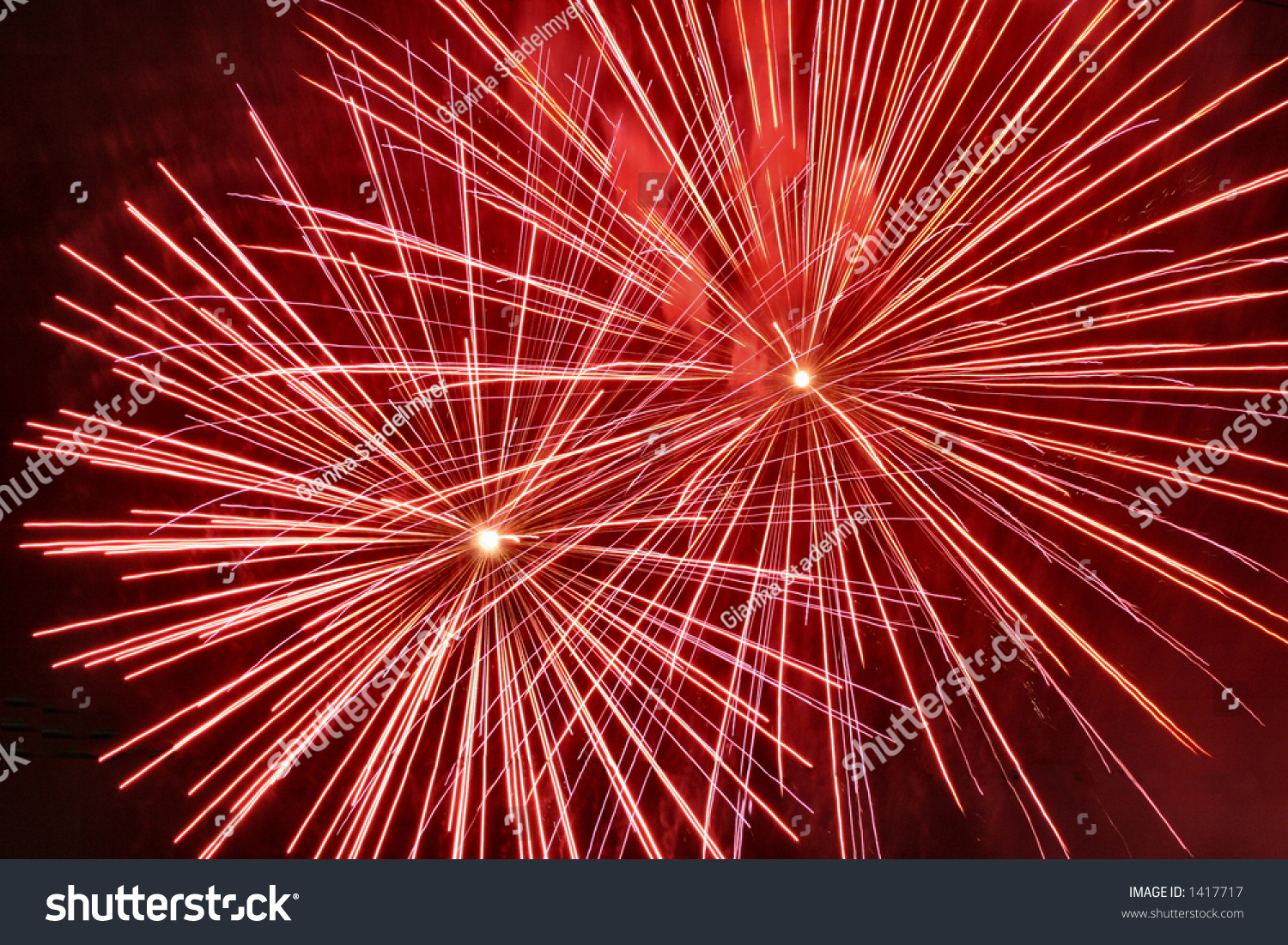Red Fireworks Free Stock Photo: Burst Two Red Fireworks Explode Fill Stock Photo 1417717