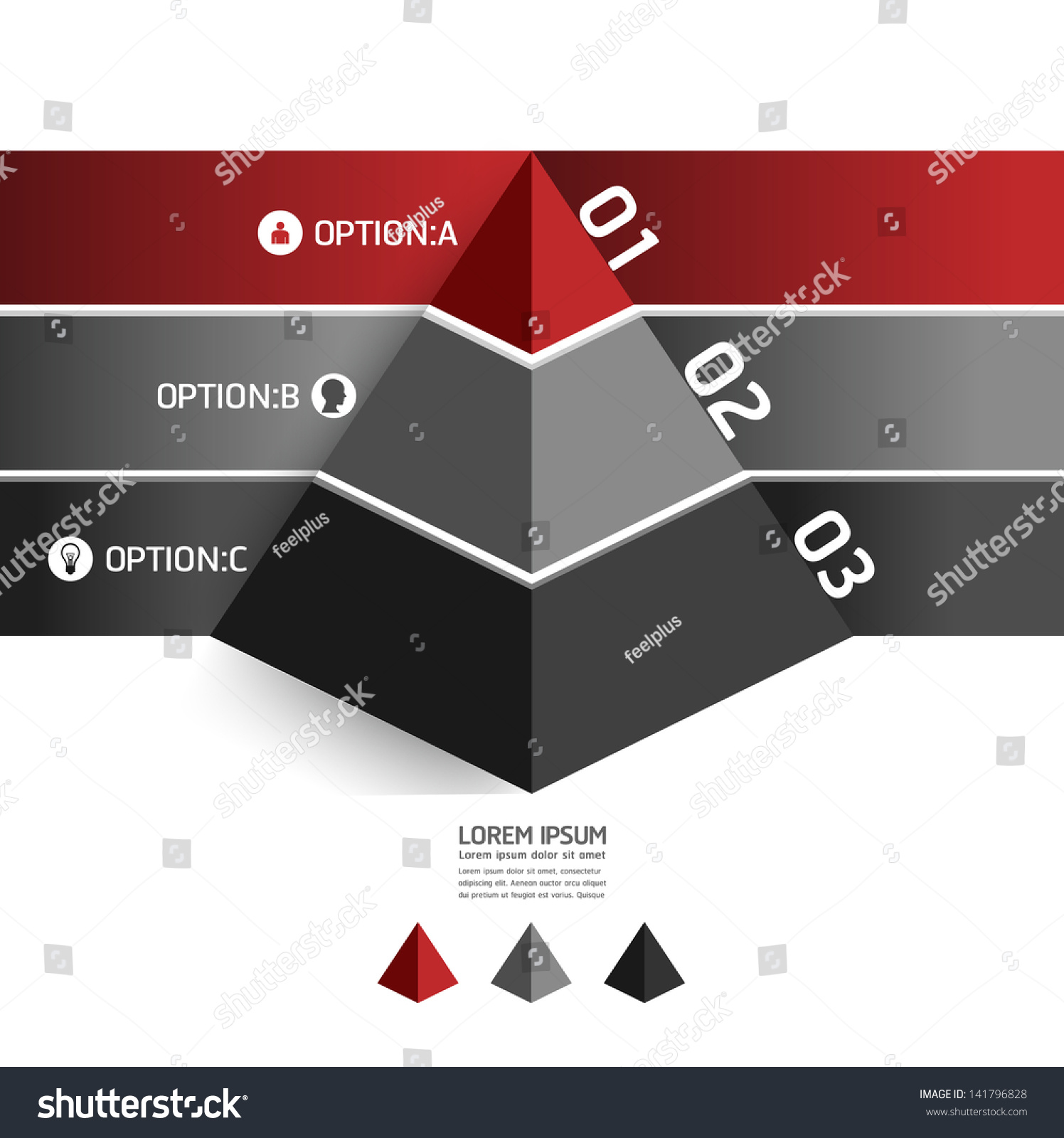 Modern Design Template Pyramid Style Can Stock Vector 141796828 ...