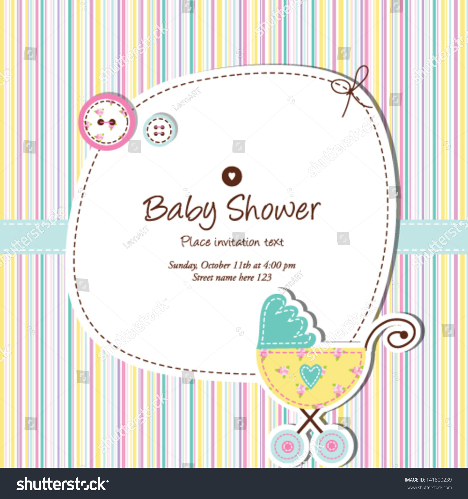 Baby Boy Shower Invitation Design Element For Greeting Card