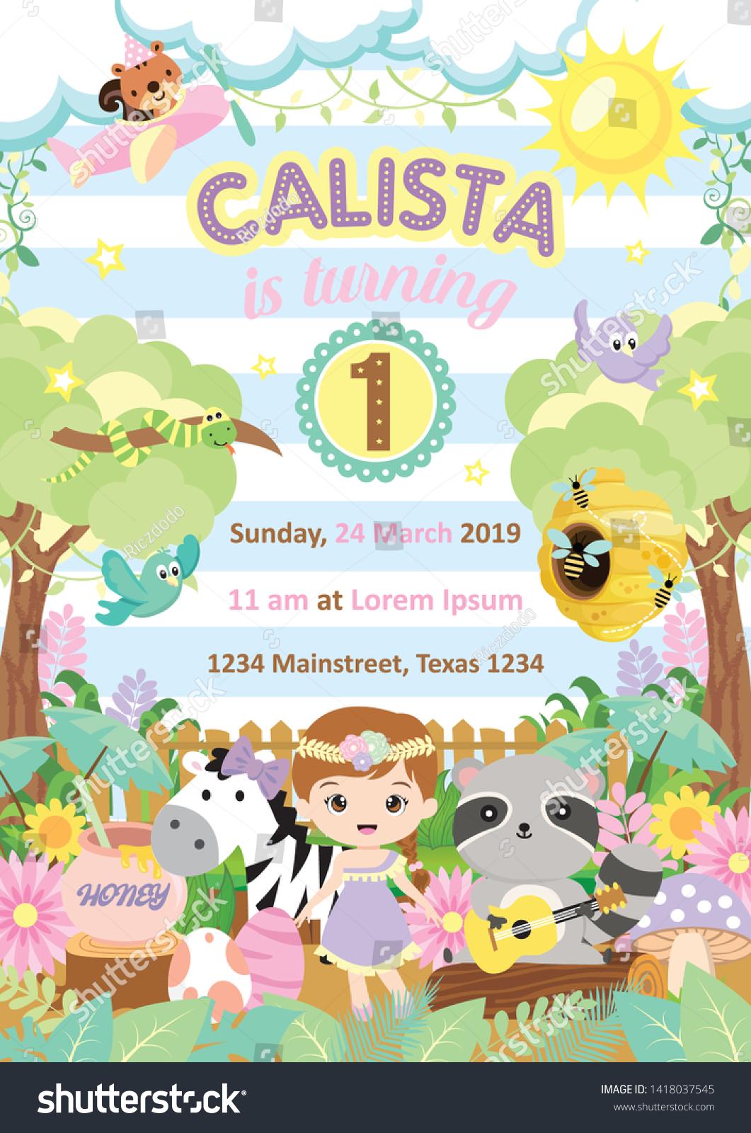 Kids Birthday Party Invitation Card Cute Stock Illustration