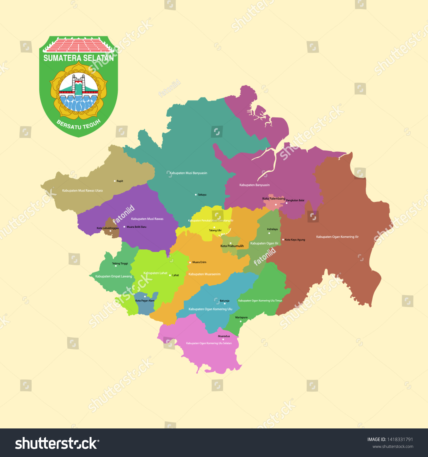 Colored Map Logo Sumatera Selatan South Stock Vector Royalty Free 1418331791