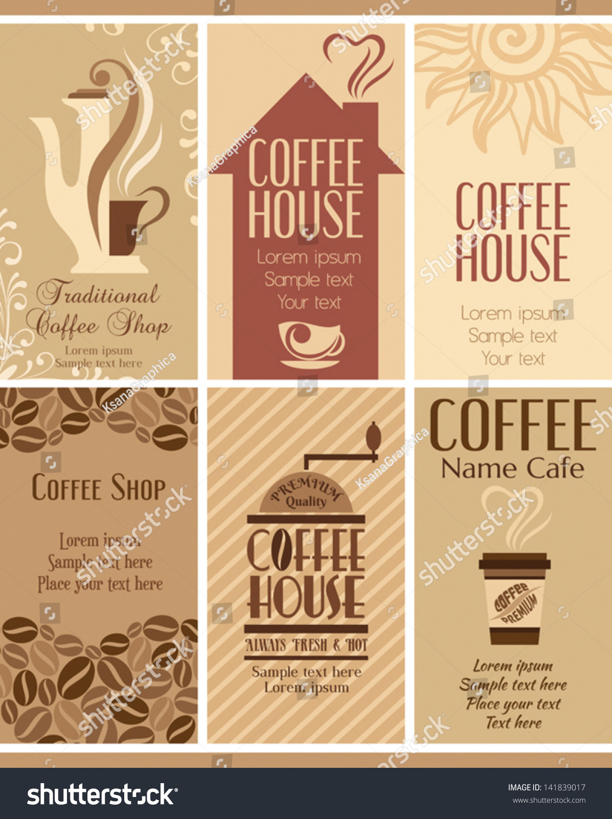 Set Coffee Business Cards Stock Vector (2018) 141839017 - Shutterstock
