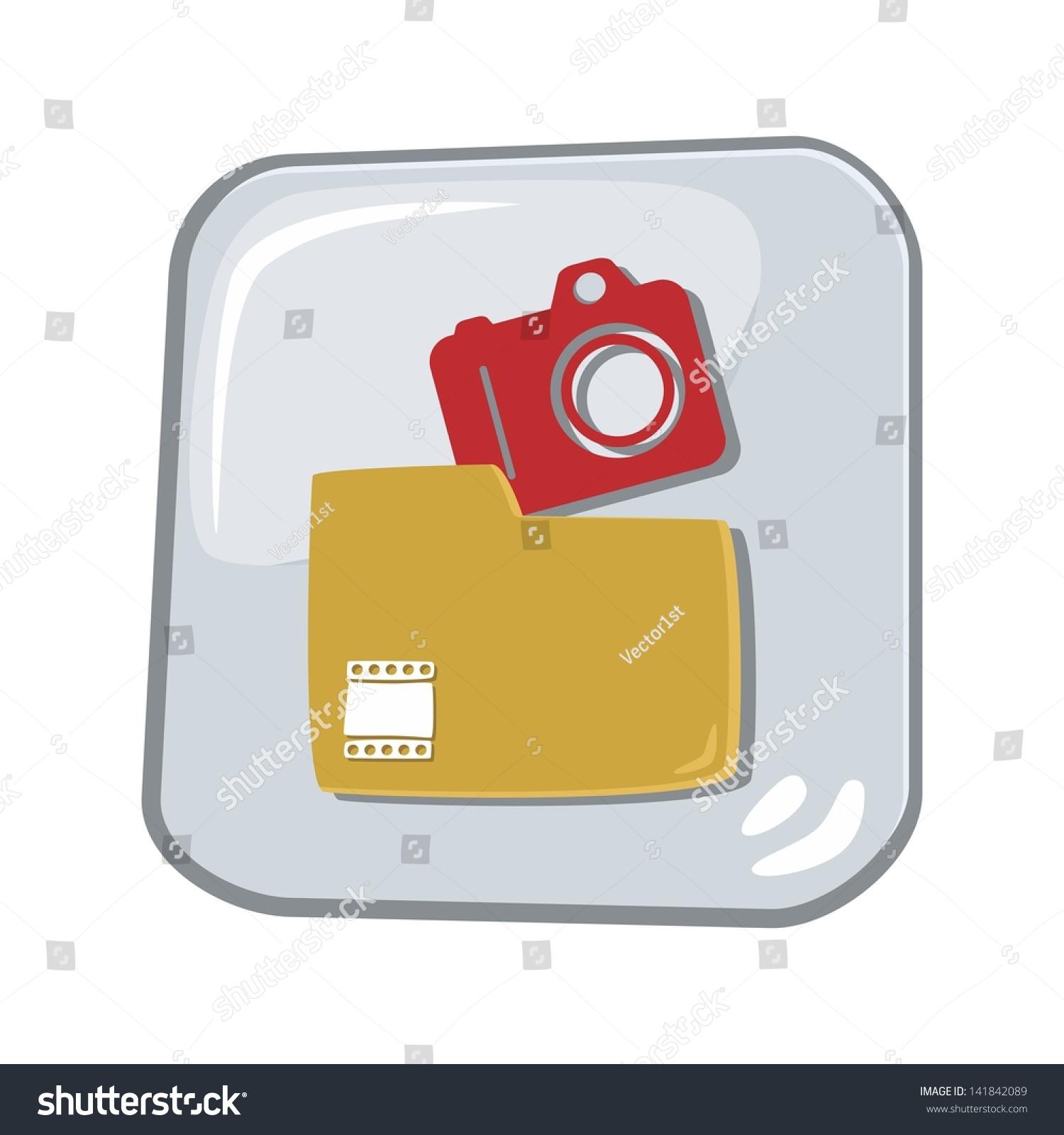 Computer Desktop Icon Glass Button My Stock Vector 2018 141842089
