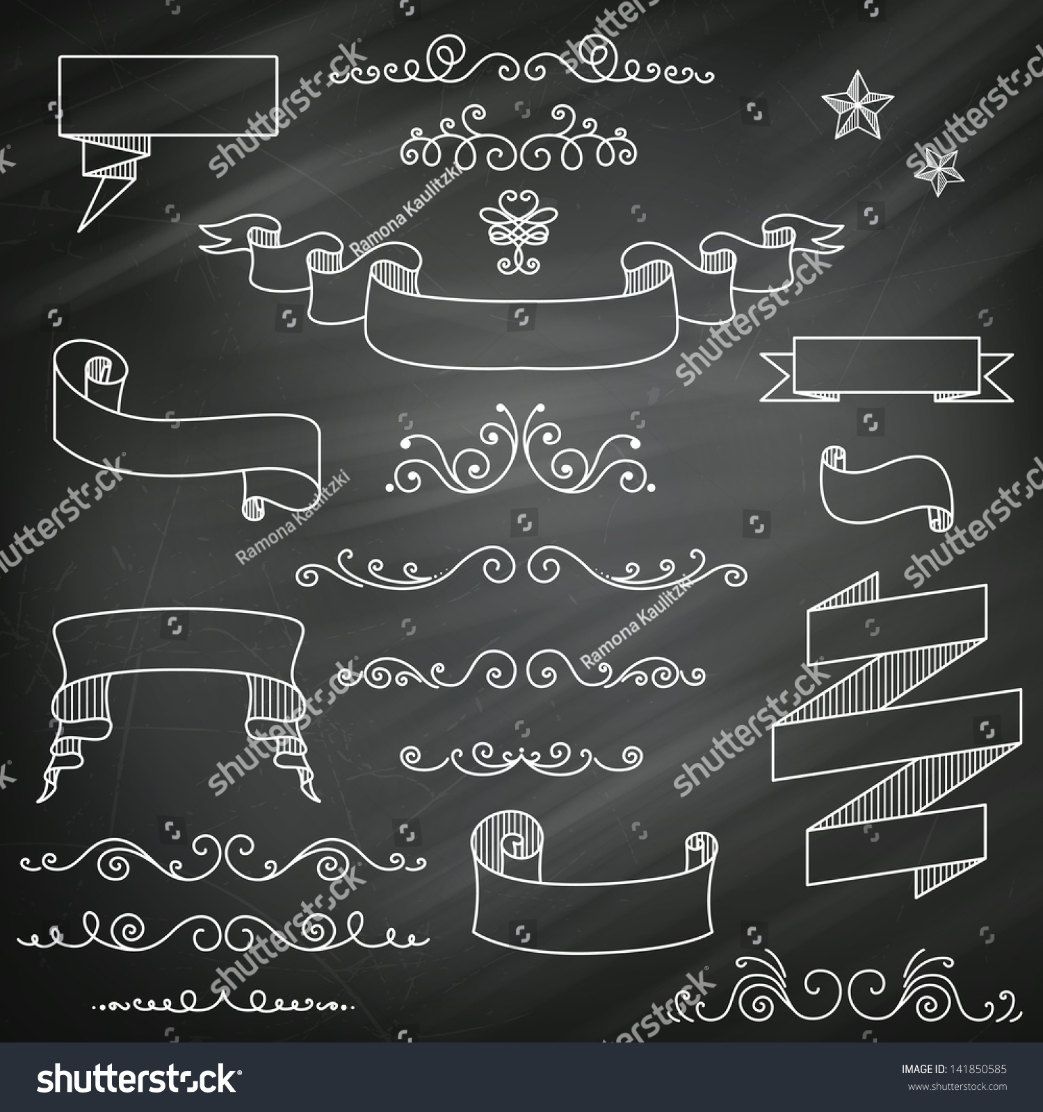 vector illustration of decorative vintage chalkboard elements - Decorative Chalkboards