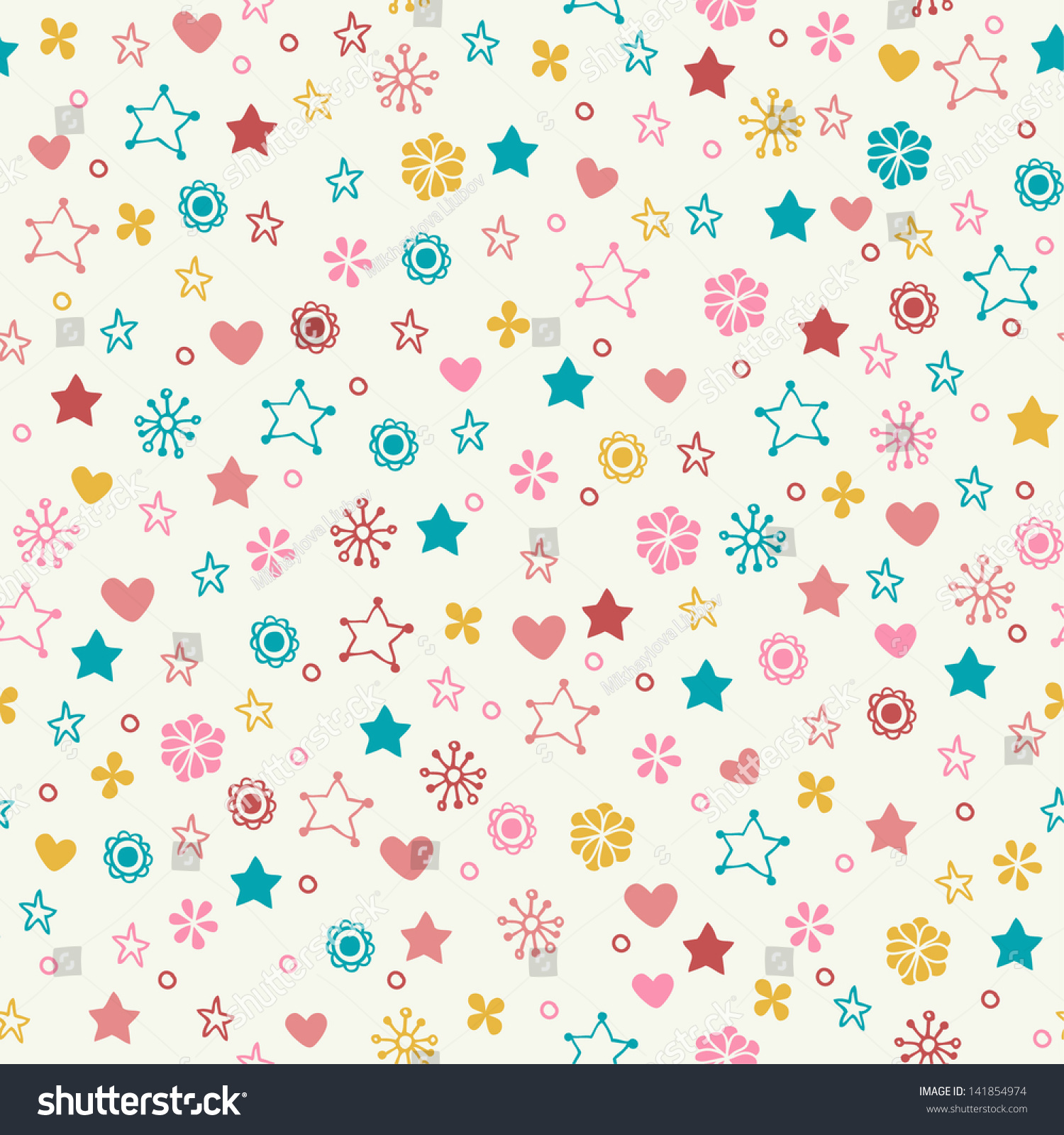 seamless doodle pattern colorful flowers stars stock vector (2018