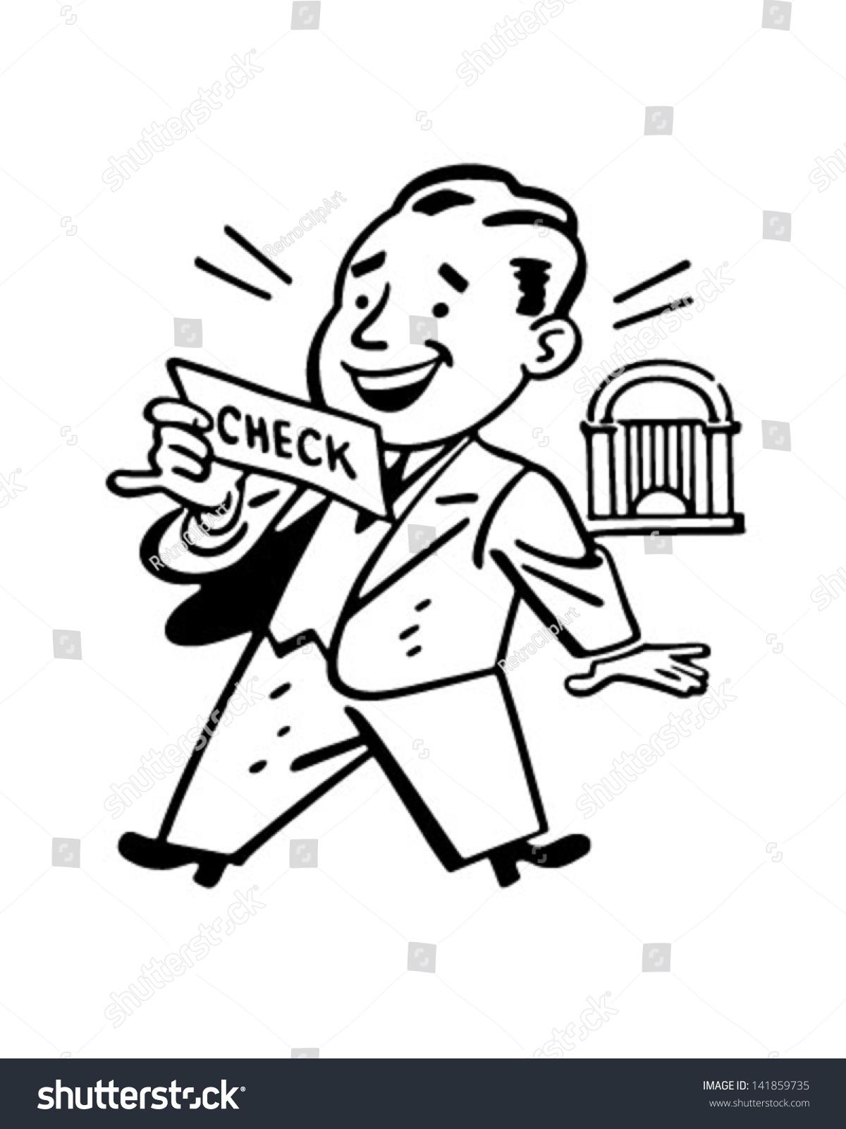 Man Receiving Check - Retro Clip Art Illustration ...