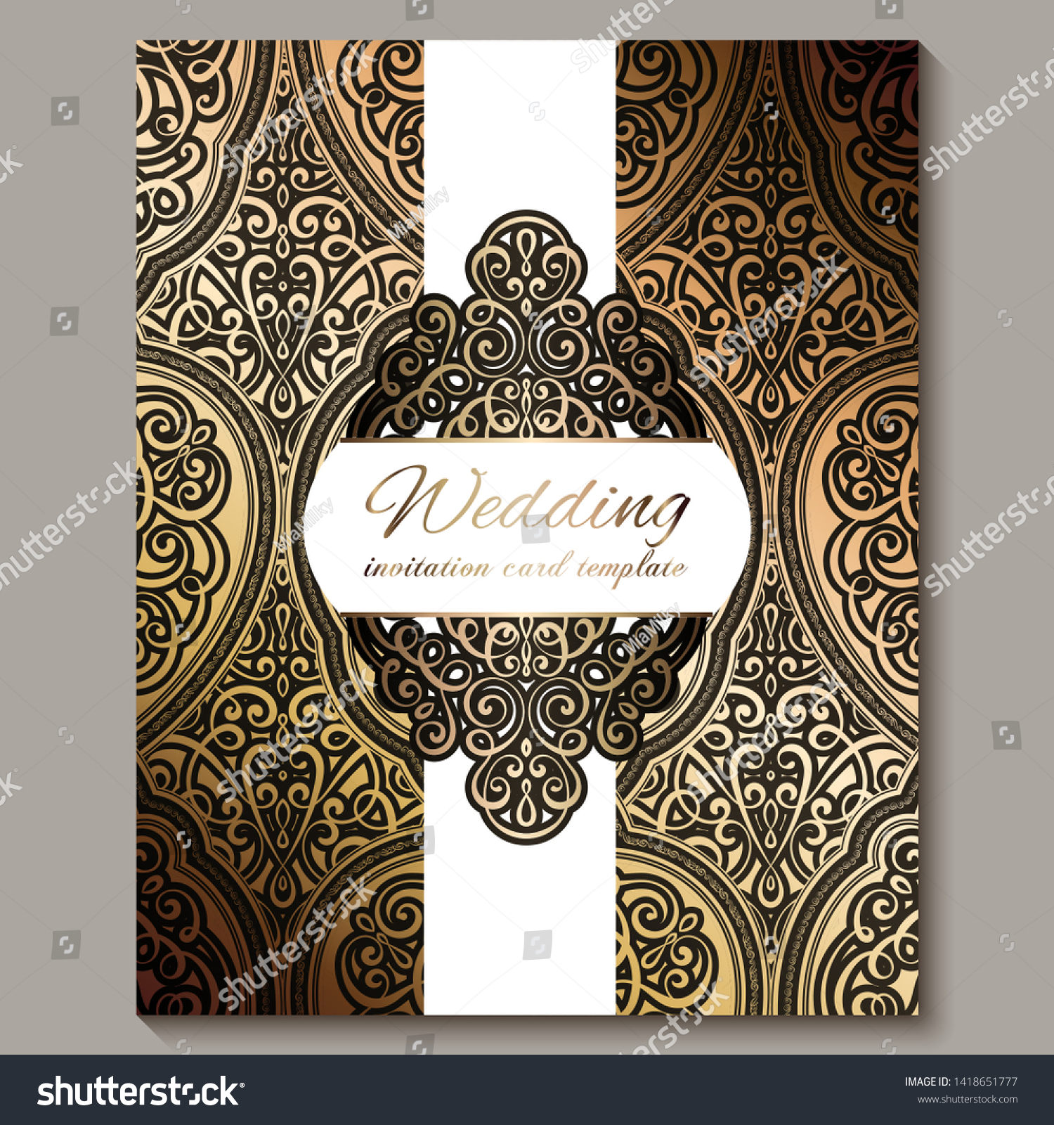 Wedding Invitation Card Black Gold Shiny Stock Vector (Royalty Free)  1418651777