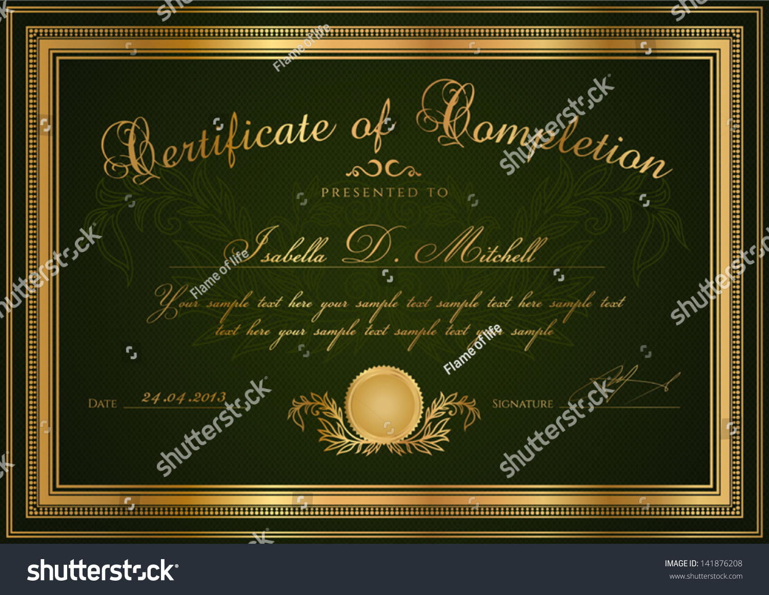 life saving award certificate template - green certificate of completion template or sample blank