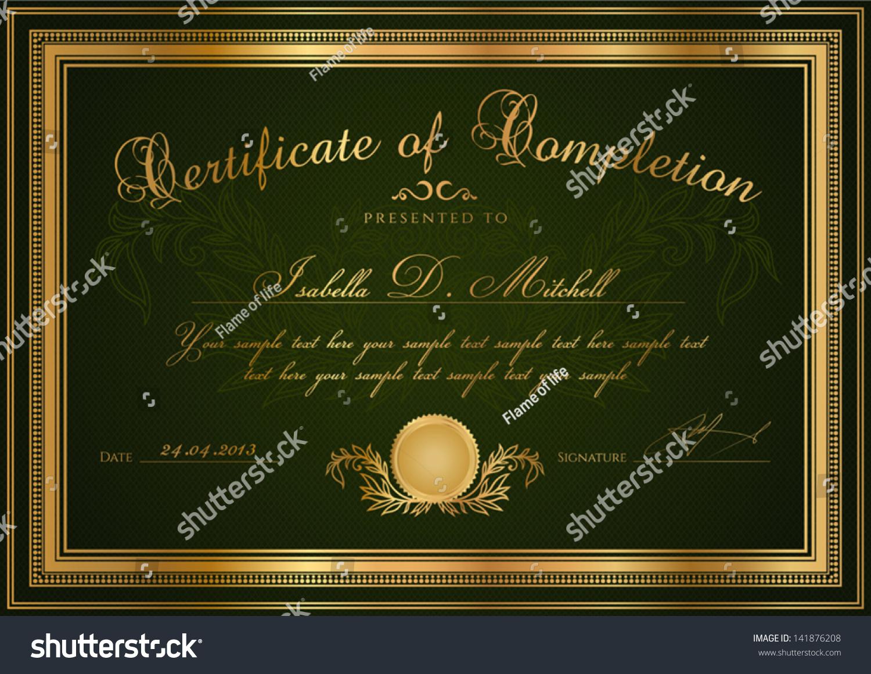 Green certificate completion template sample blank stock vector green certificate of completion template or sample blank background with guilloche pattern watermark yadclub Gallery