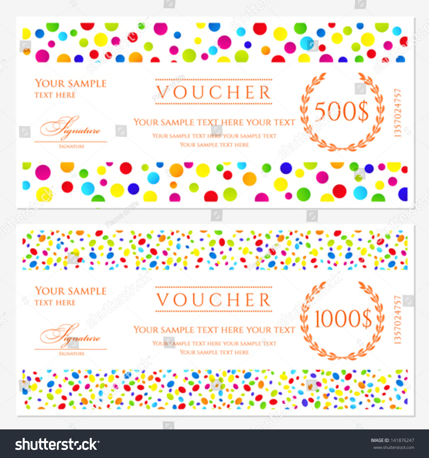 cheque voucher template - voucher gift certificate template colorful bright stock