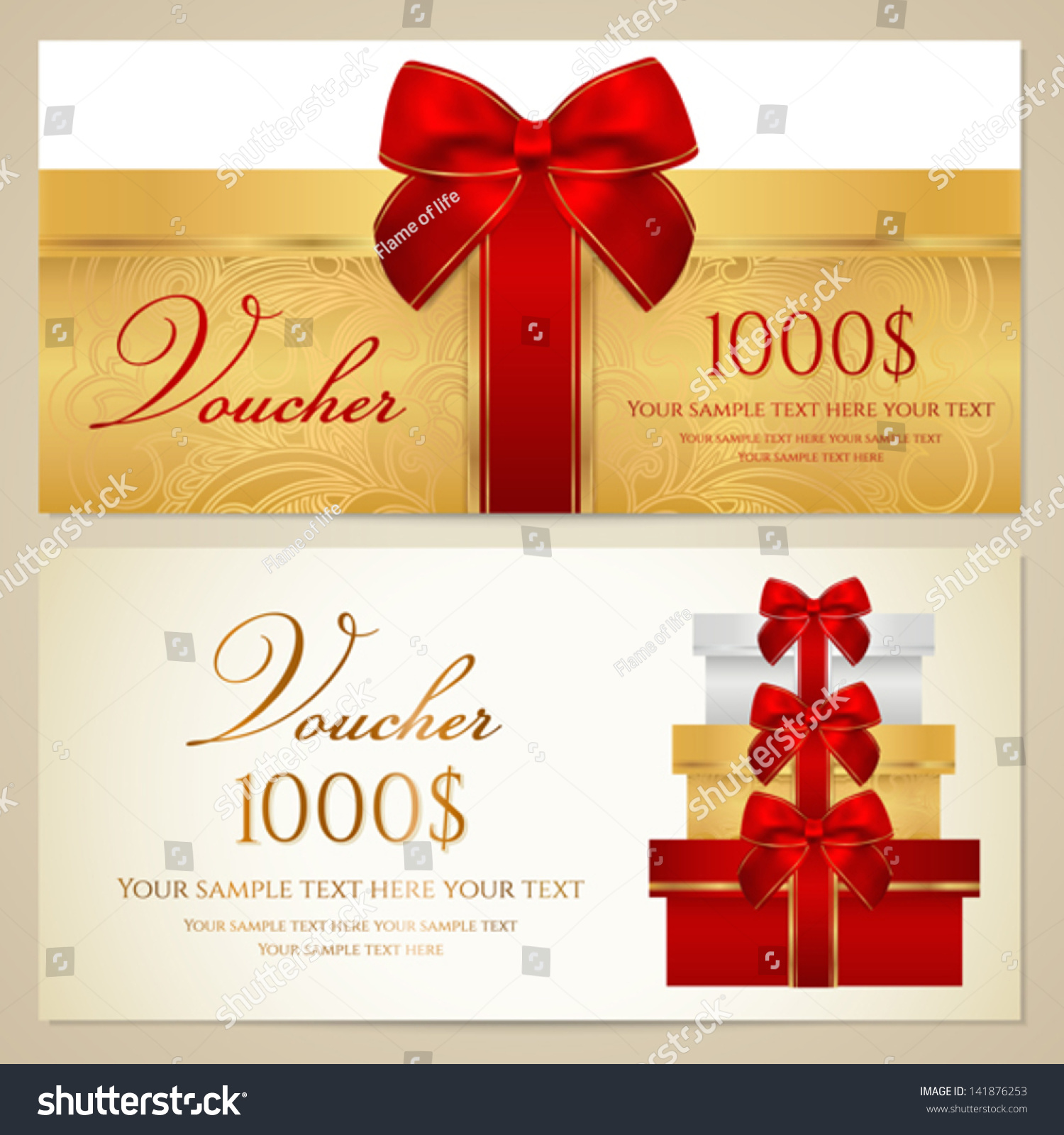 voucher gift certificate coupon template present stock vector voucher gift certificate coupon template present boxes bow