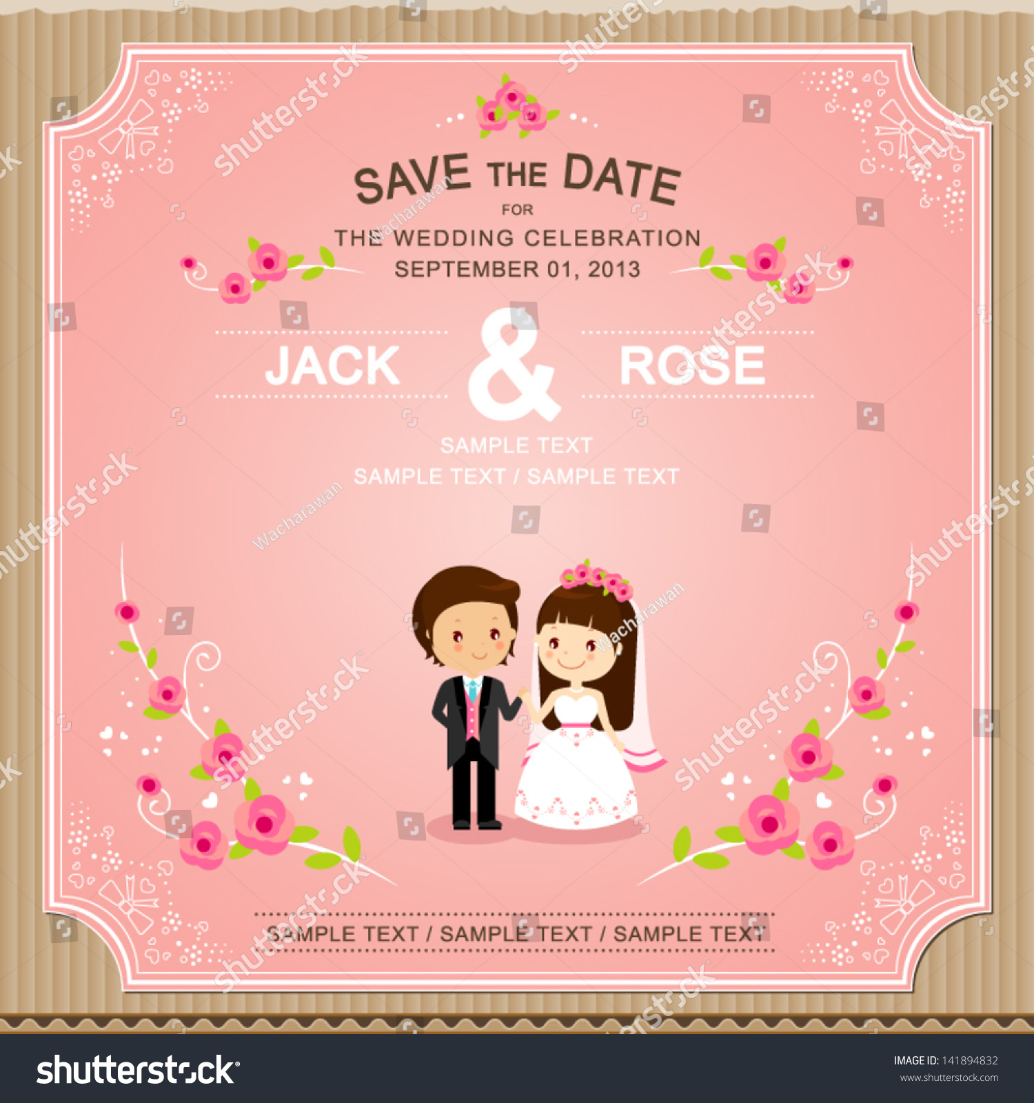Cute Pink Rose Wedding Invitation Card Stock Vector