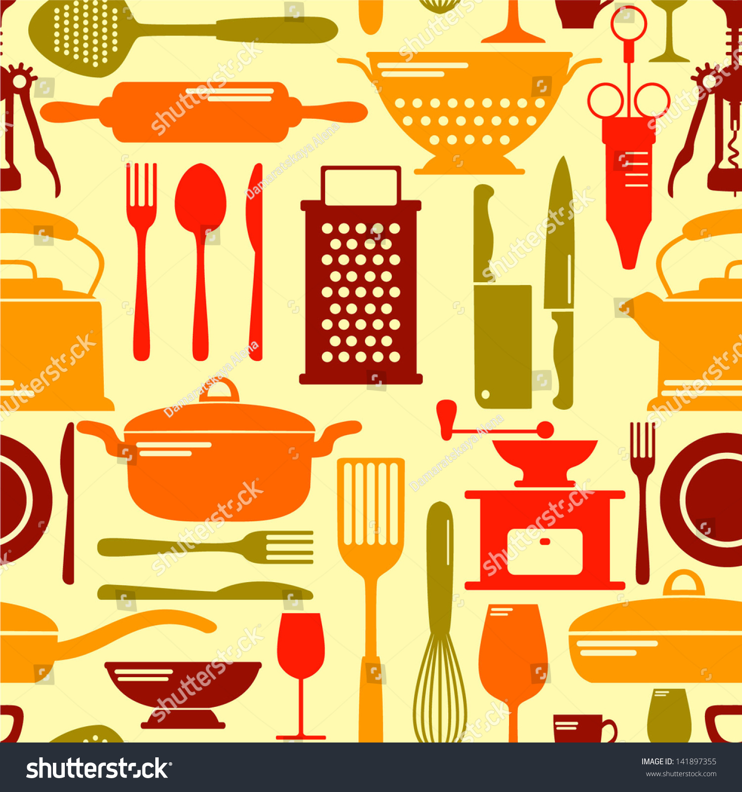 Kitchen Background Image: Seamless Kitchen Background Stock Vector 141897355