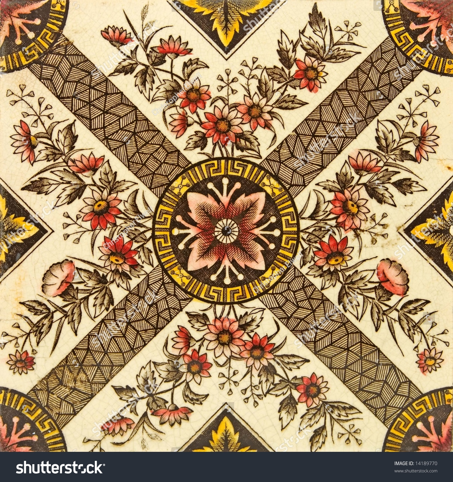 A late victorian aesthetic design tile c1880 stock photo - Late victorian wallpaper ...