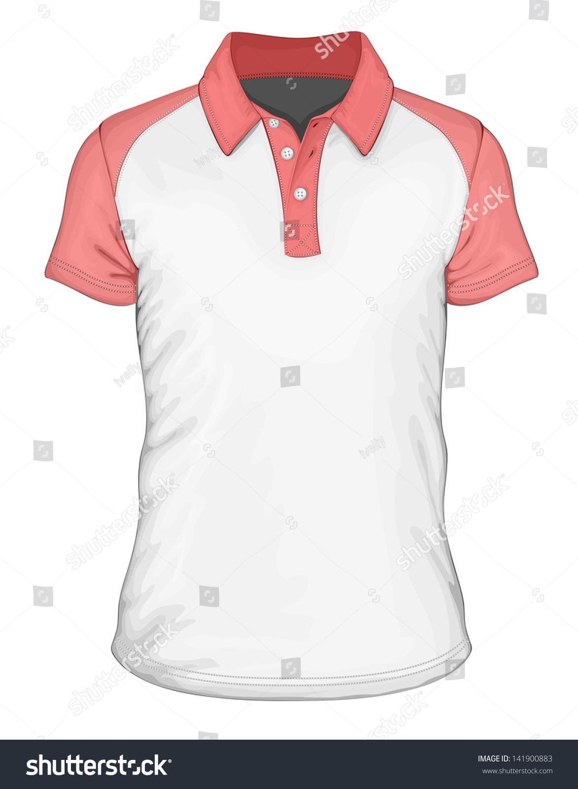 Shirt design illustrator template - Men S Short Sleeve Polo Shirt Design Templates Front View Vector Illustration