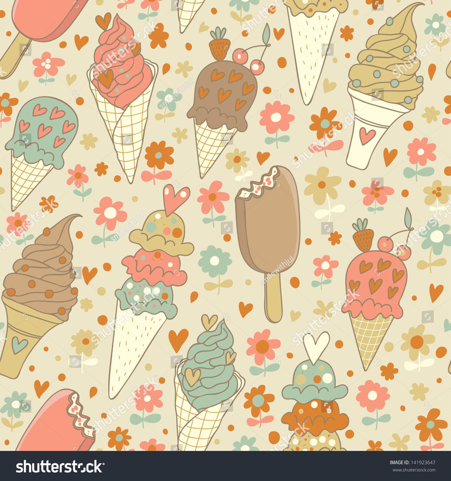 Seamless Ice Cream Background Vintage Style: Cute Vintage Summer Seamless Pattern Tasty Stock Vector