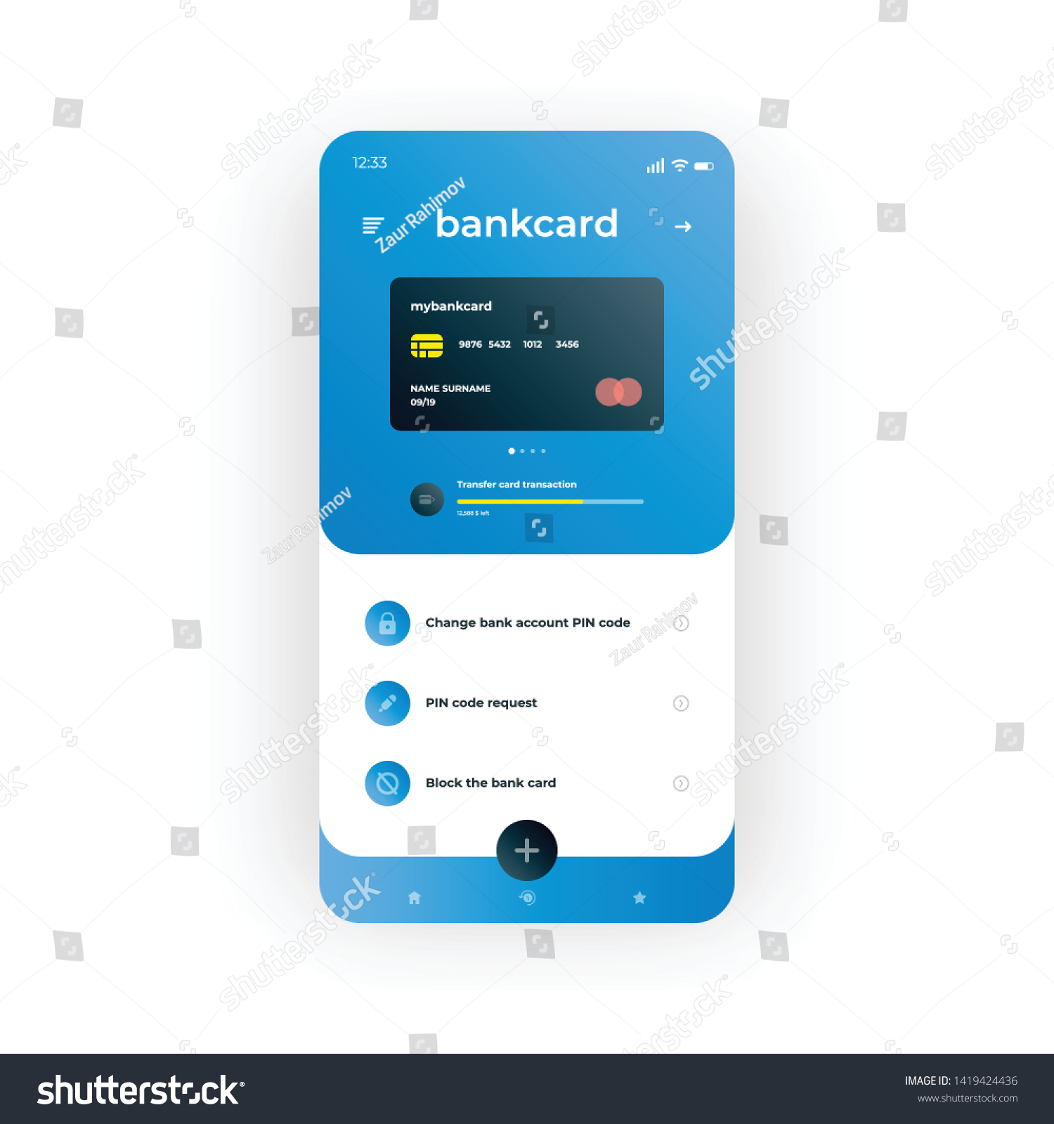 Bank Design Home.Blue Online Banking Ui Ux Gui Stock Vector Royalty Free 1419424436