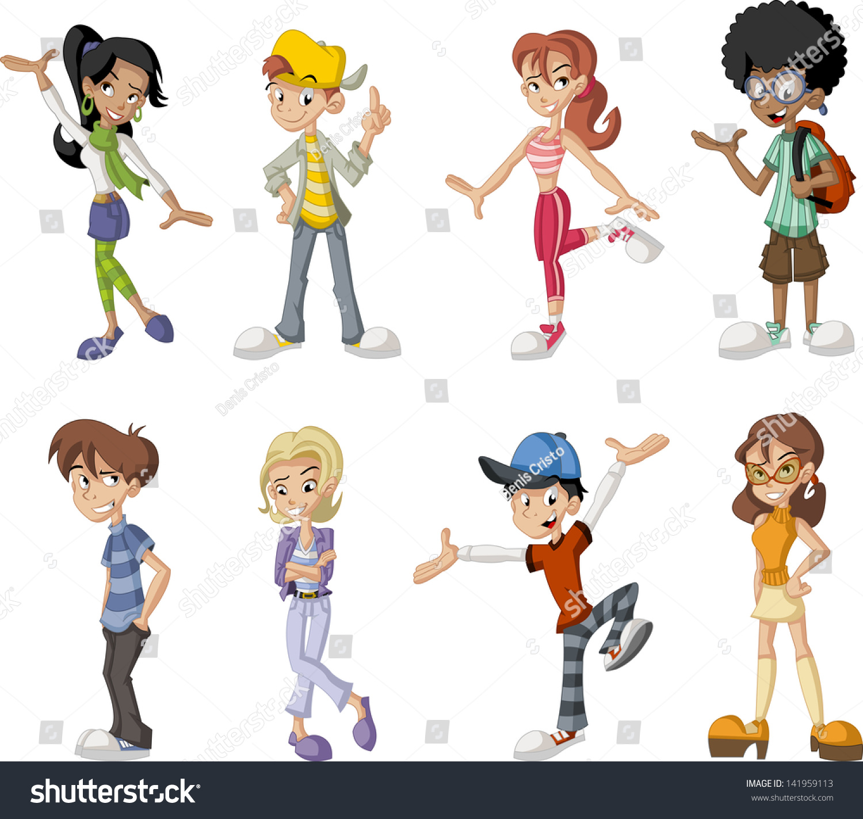 Group Of 6 Cartoon Characters : Group eight happy cartoon children teenagers stock vector
