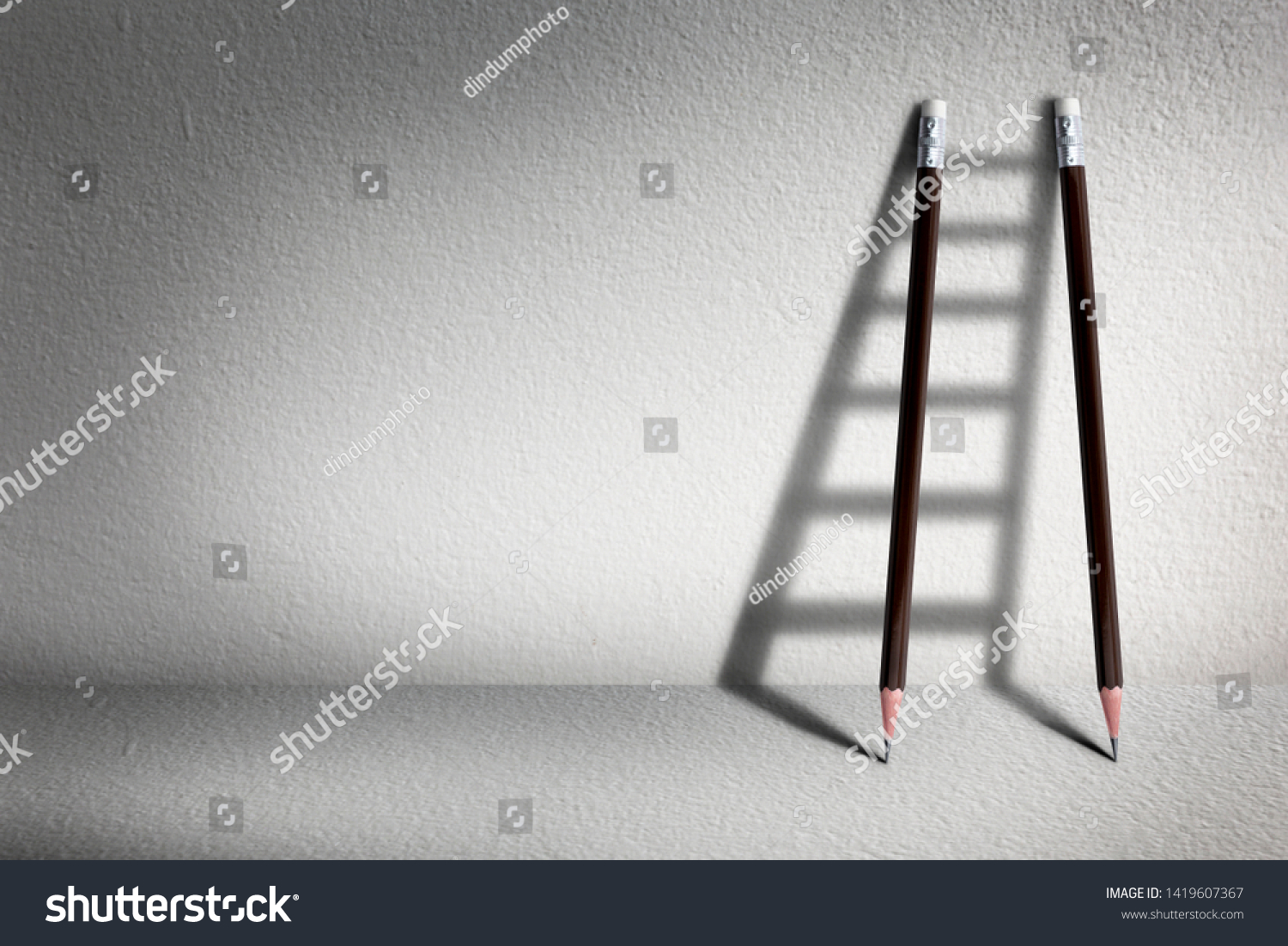 Stairs with pencil for effort and challenge in business to be achievement and successful concept. #1419607367
