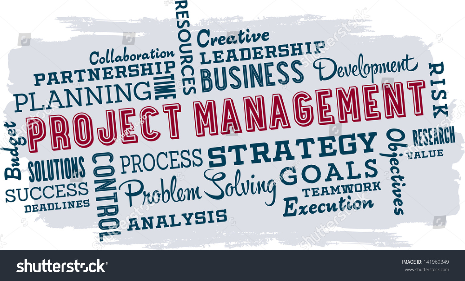 Project Management Business Word Cloud Collage Stock Vector ...