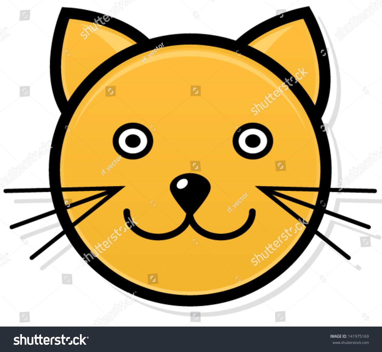 Smiling Cat Face Cartoon Stock Vector 141975169 : Shutterstock