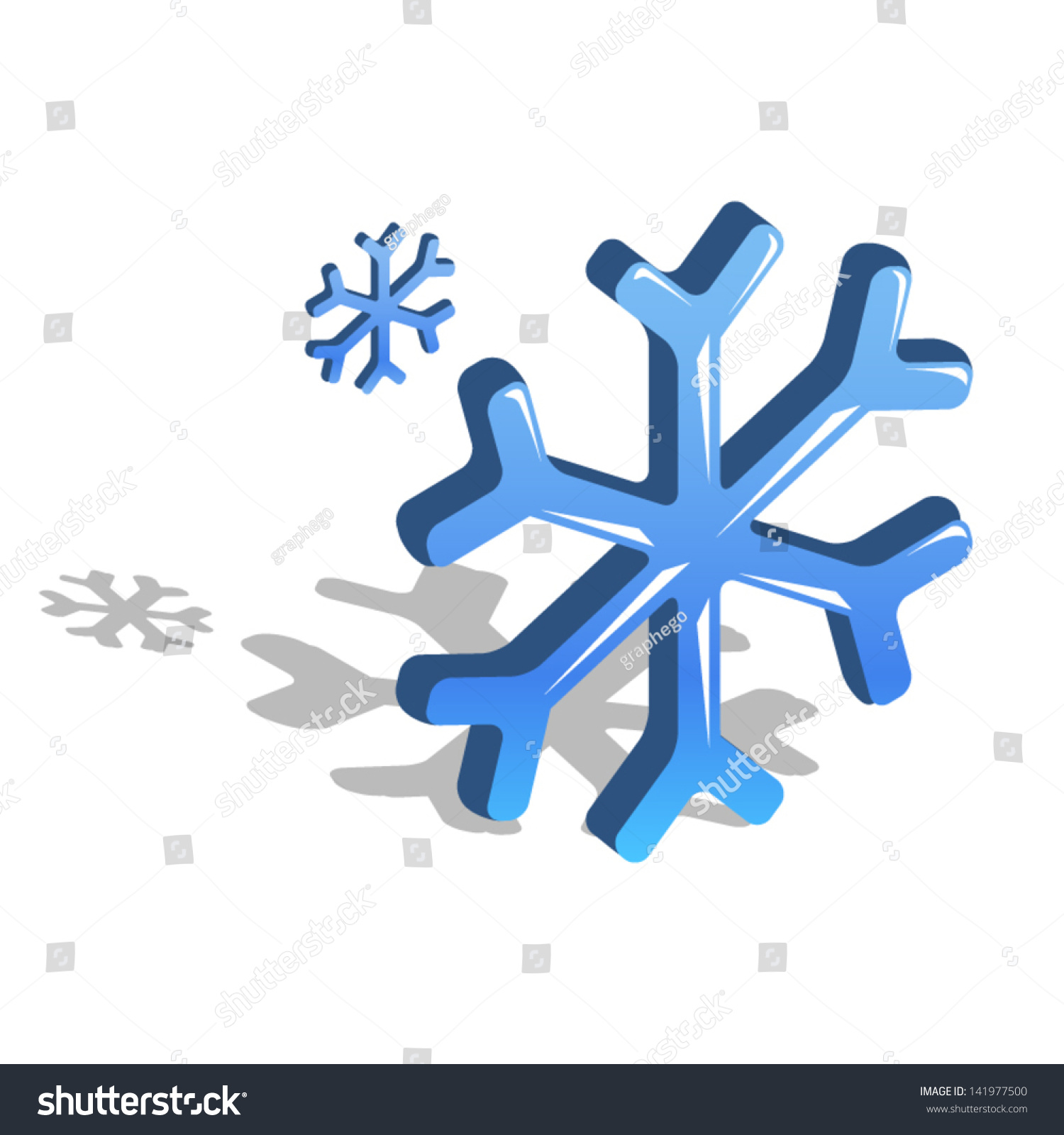 Blue Snowflake Symbol Frozen Foods Refrigerators Stock Vector