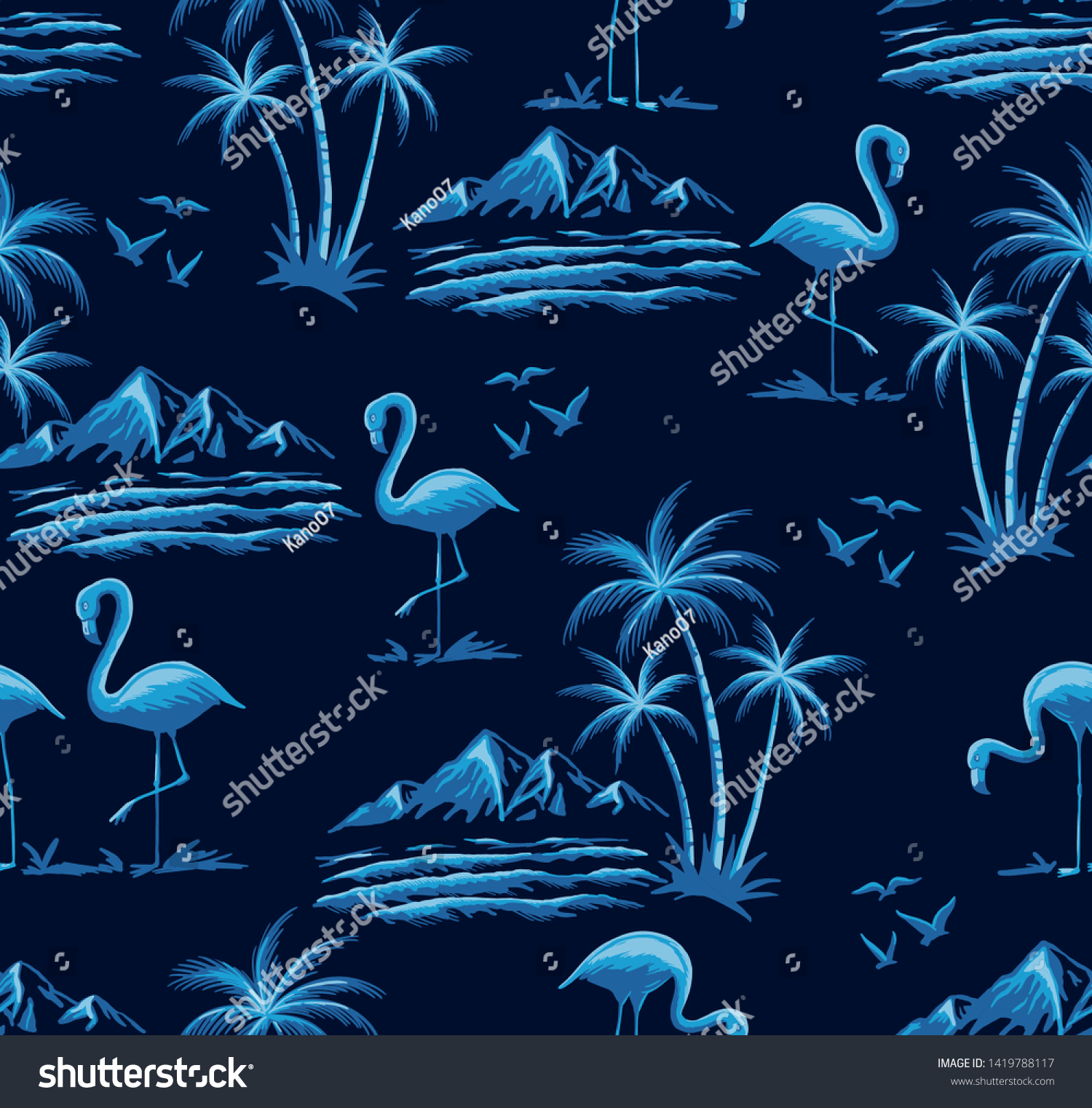 Hand drawn vector seamless island pattern on navy background. Landscape with palm trees, beach , flamingo birds, ocean and mountains.