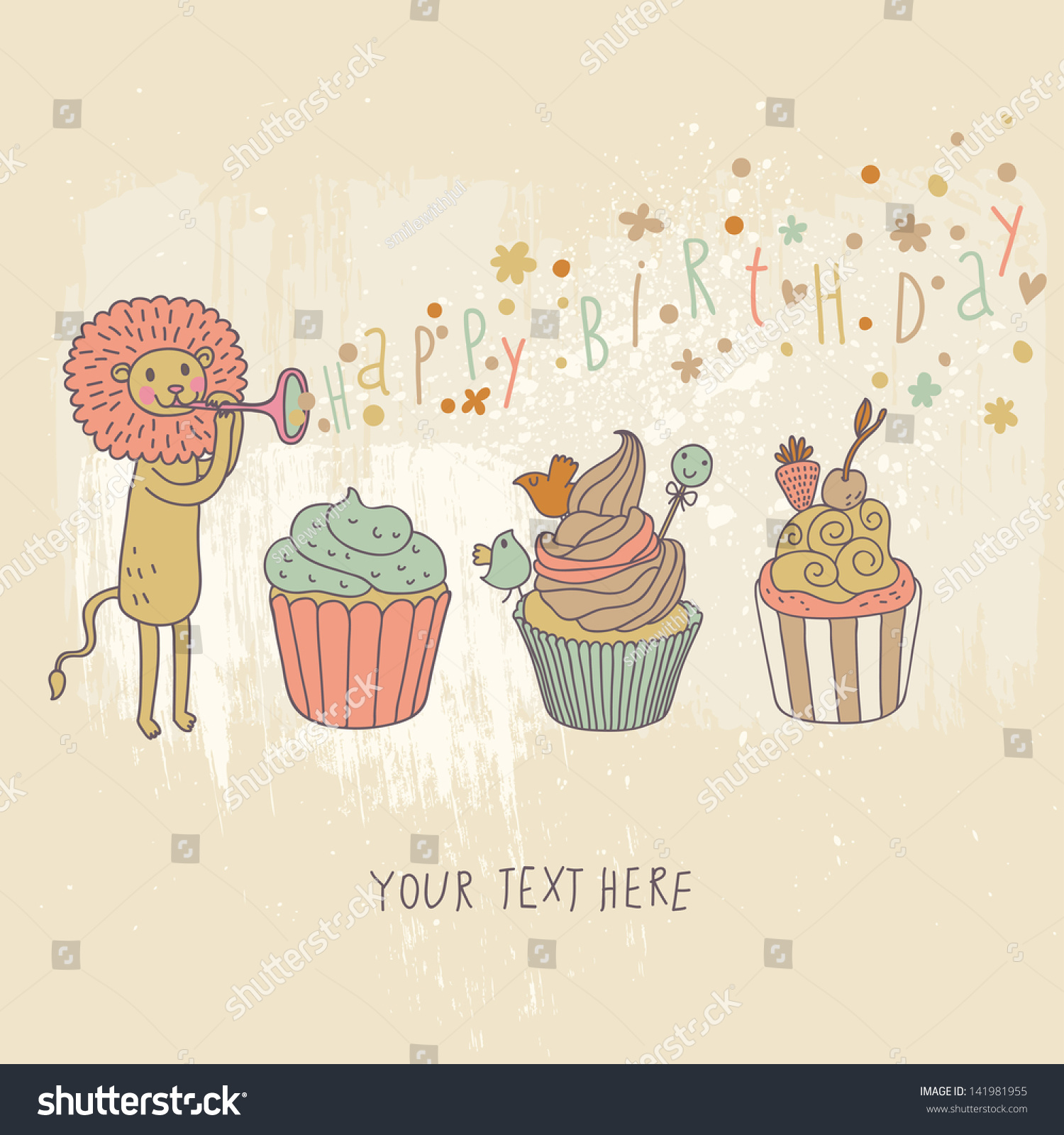 Happy Birthday Card Cartoon Holiday Wallpaper Stock Vector