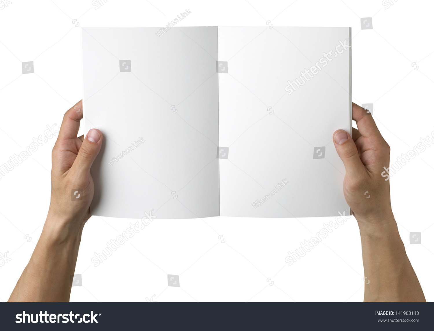 Overhead View Hands Holding Blank Book Stock Photo ...