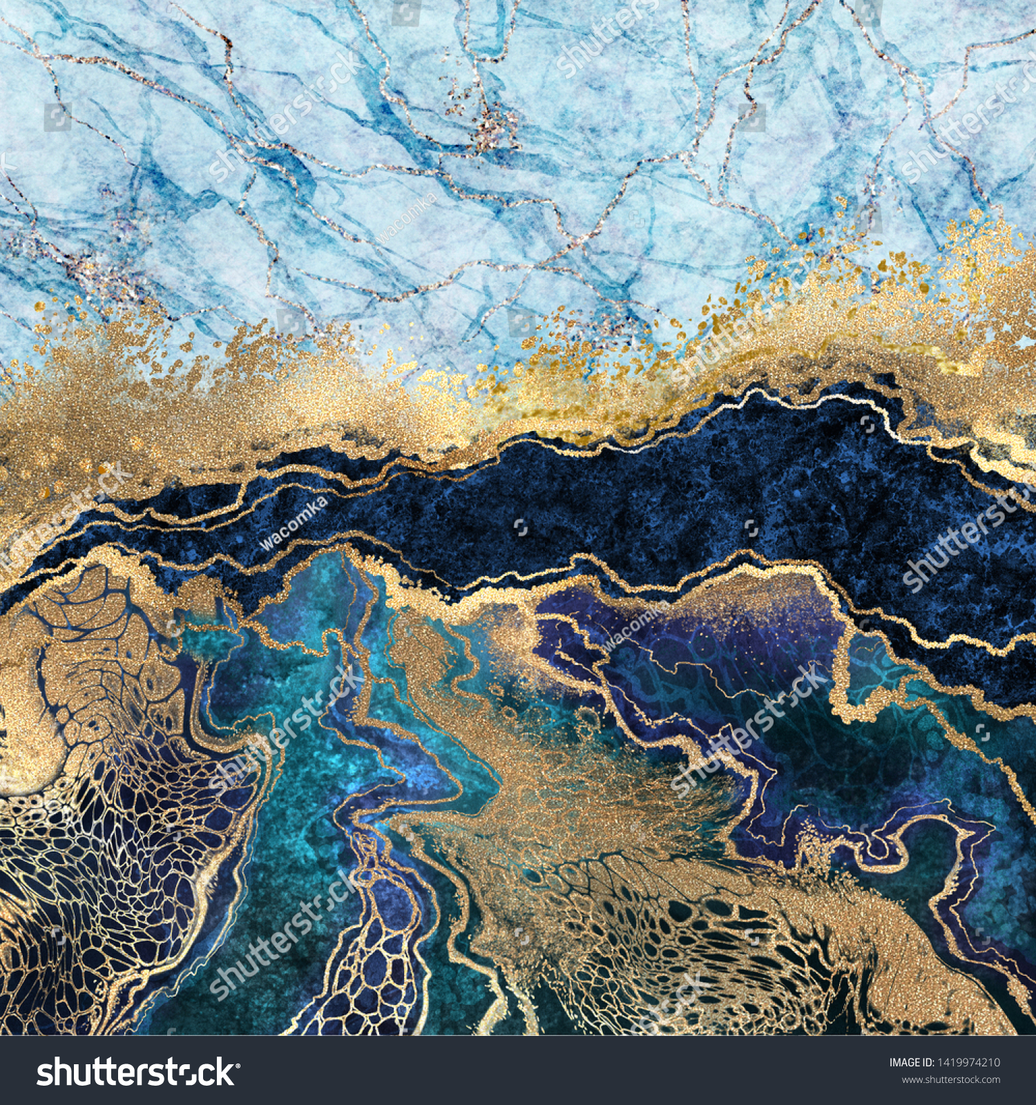 Abstract Background Blue Marble Fake Stone Stock Illustration 1419974210