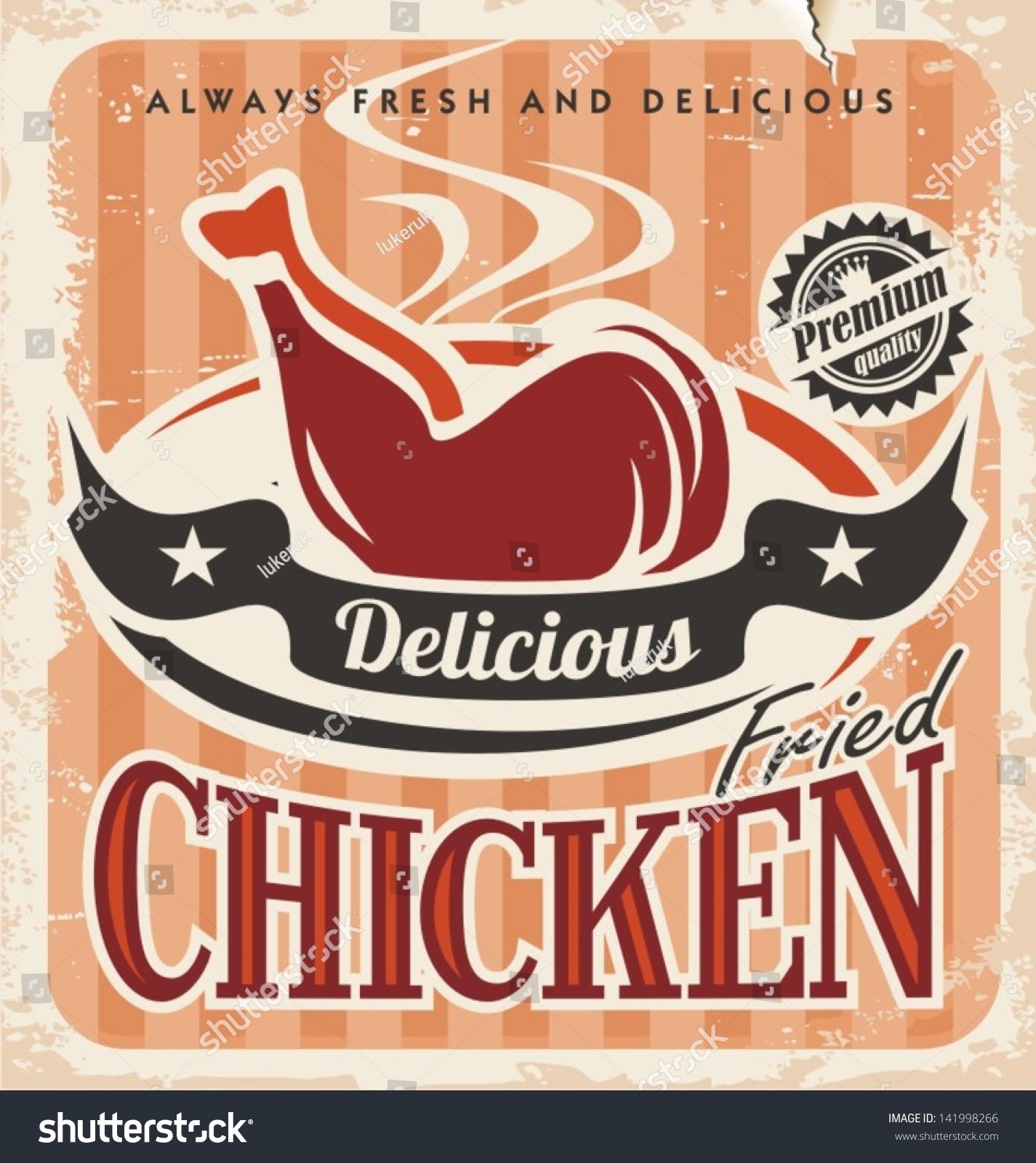 Design poster retro - Vintage Fried Chicken Vector Poster Design Retro Background Food Template