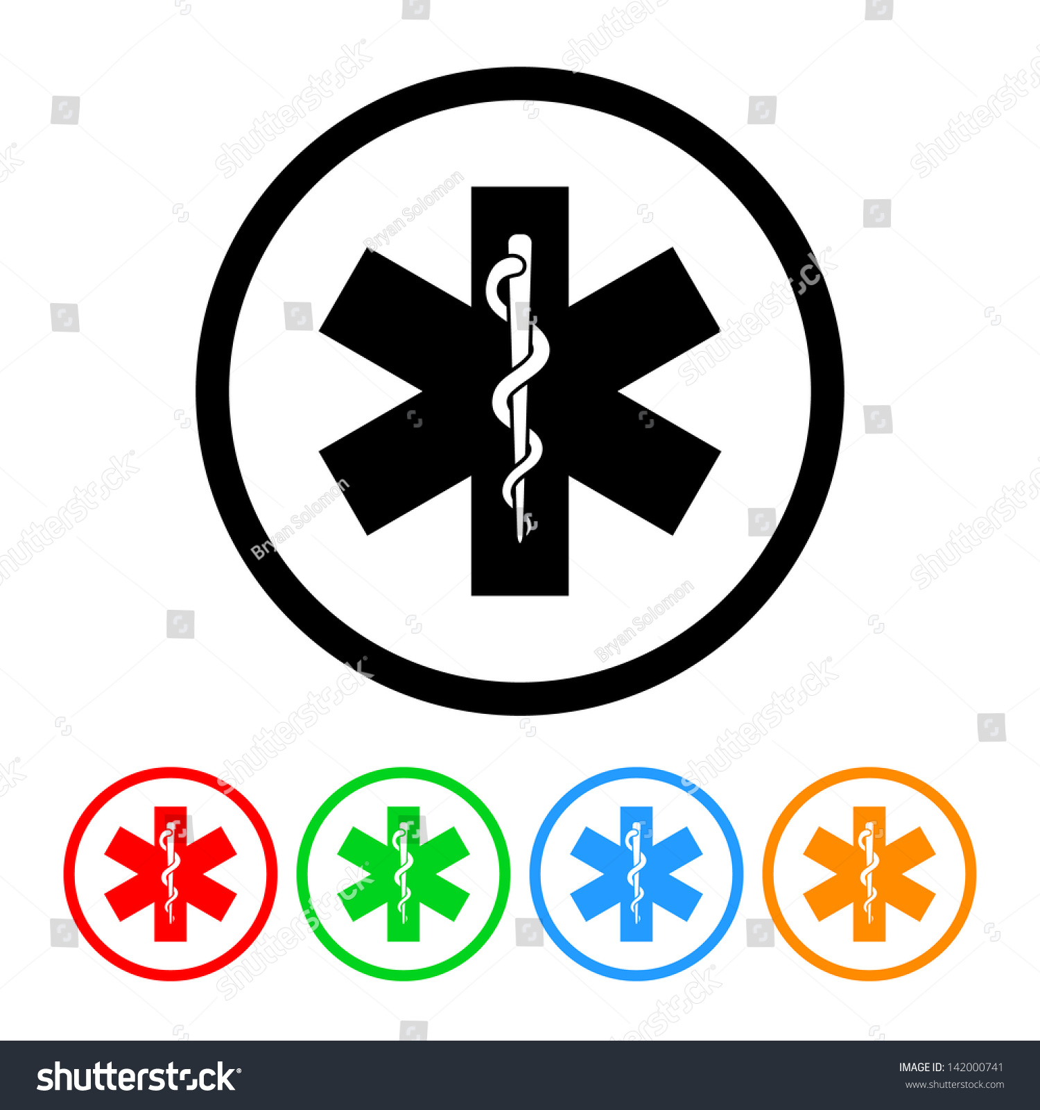 Snake Staff Rod Asclepius Health Medical Stock Vector 142000741