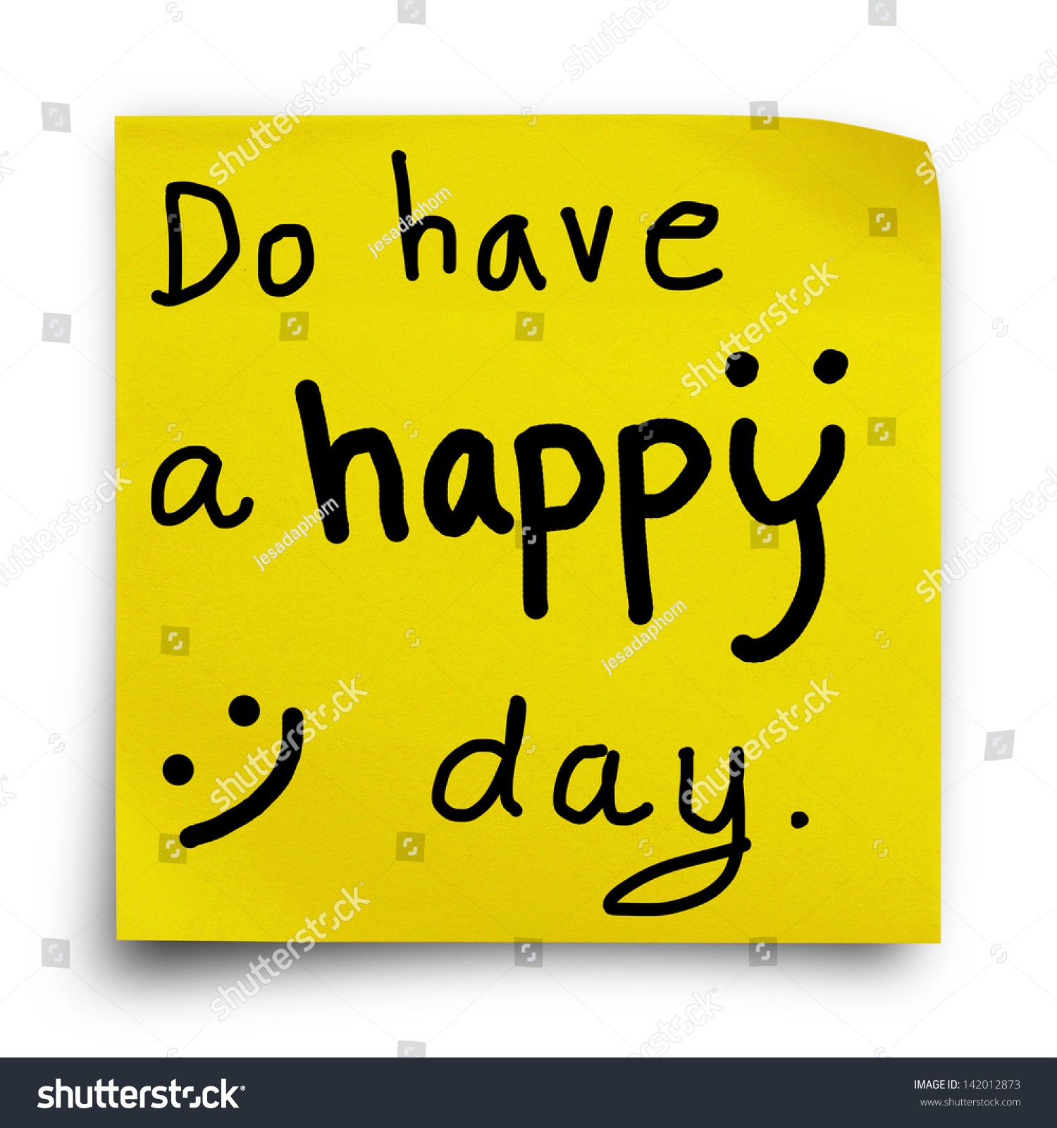 Do Have A Happy Day, Word On Yellow Sticker Paper Note On White