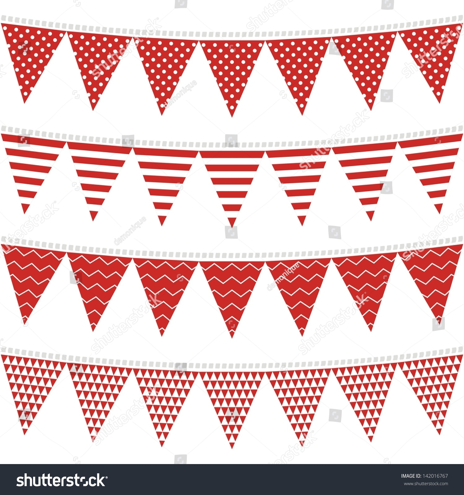 Vector bunting flags lovely celebration card with colorful paper - Dots Stripes Chevron Triangles Patterned Flags On Gray Rope Red Holiday Celebration Decoration Bunting Set Colorful