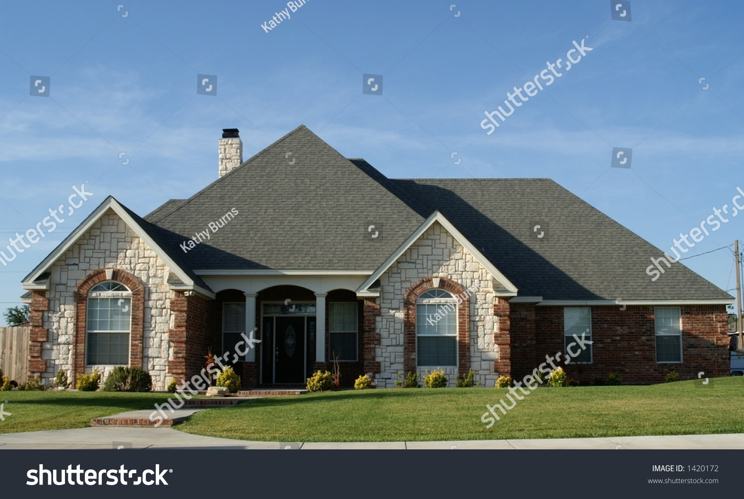 New cottage style stone brick home stock photo 1420172 for New cottage homes