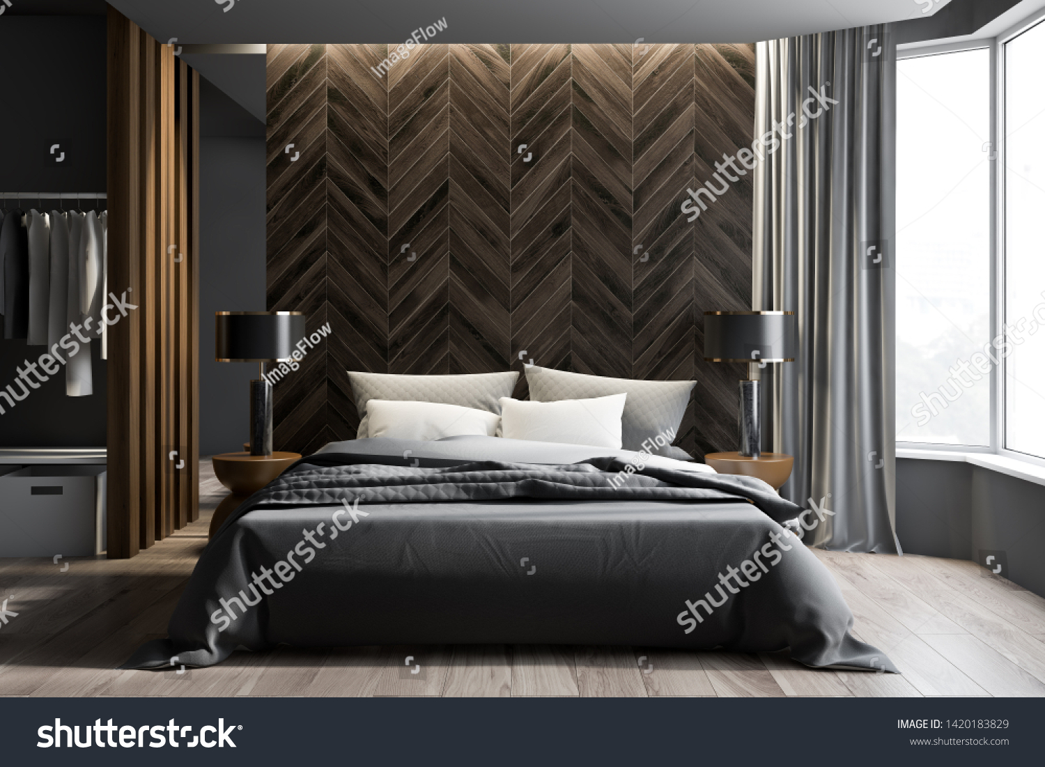 Interior Modern Bedroom Gray Dark Wooden Stock Illustration 1420183829